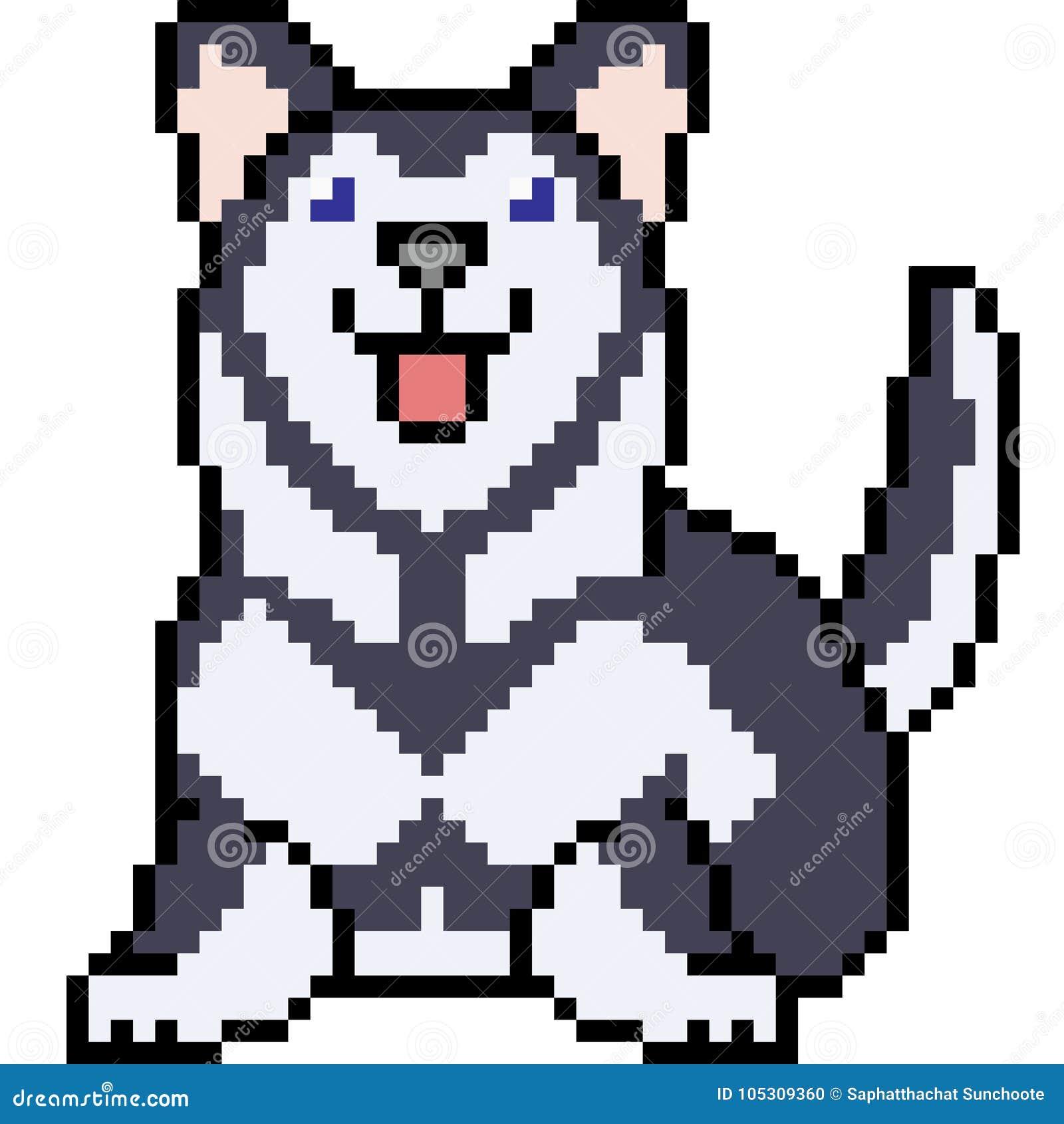 Vector Pixel Art Siberian Husky Stock Vector Illustration