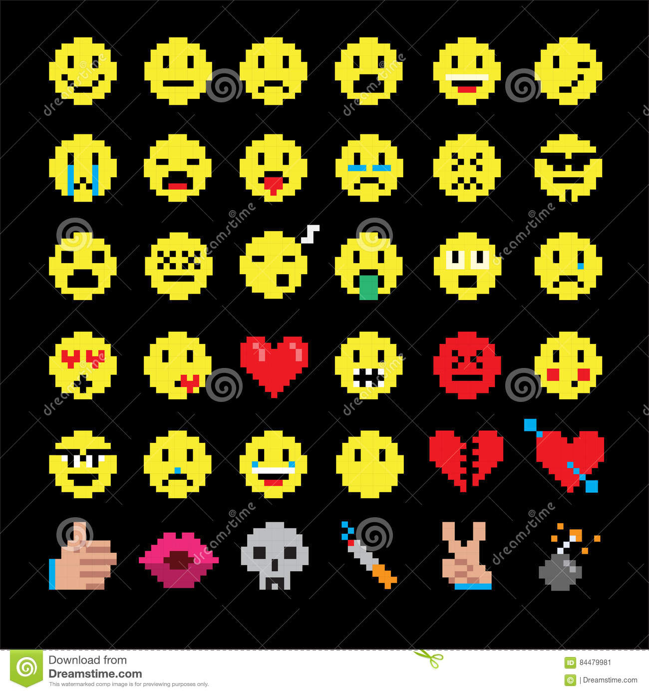 Vector Pixel Art Of Smiley Emoticon Set To Represent Various