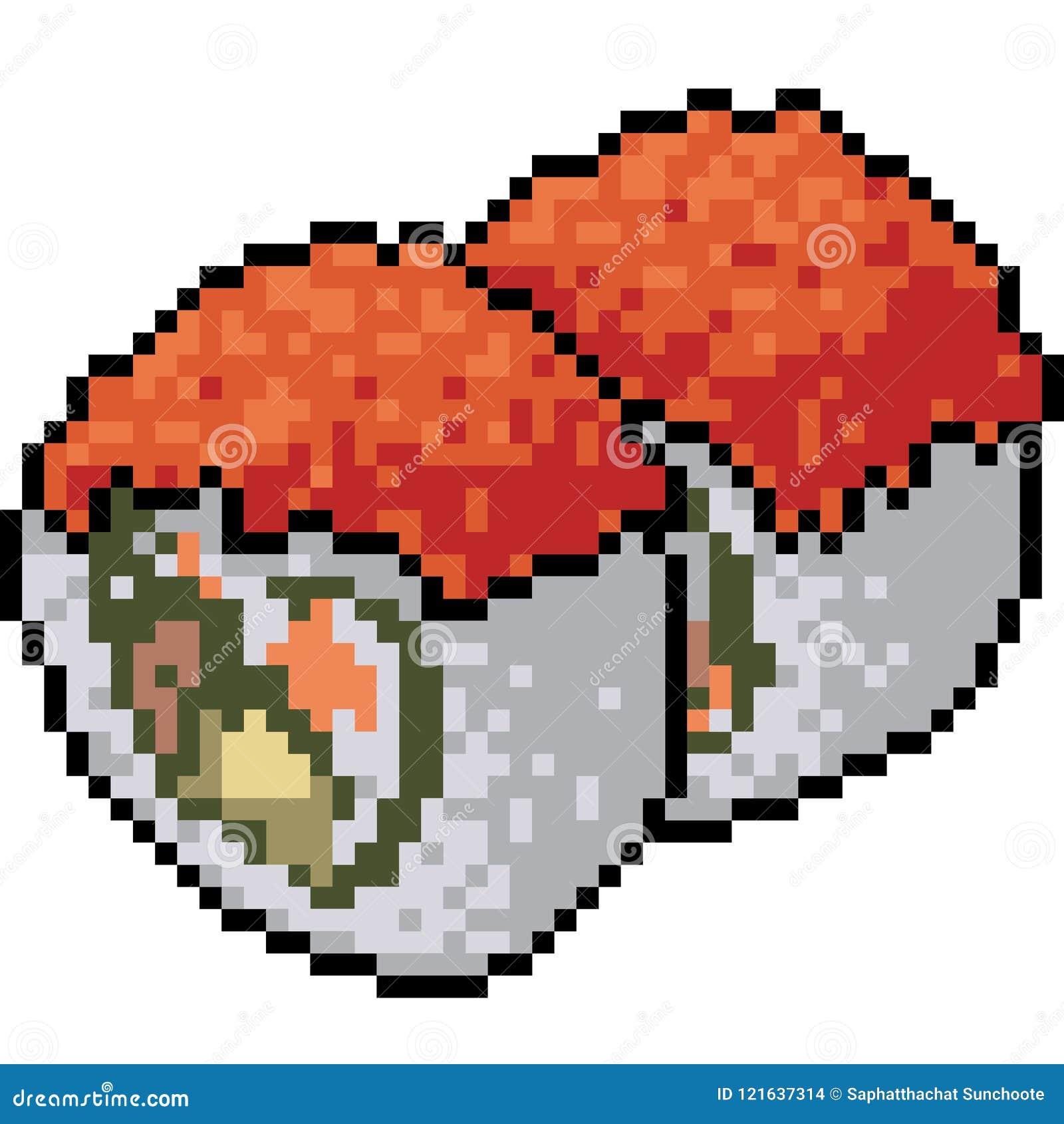 Vector Pixel Art Sushi Restaurant Stock Vector