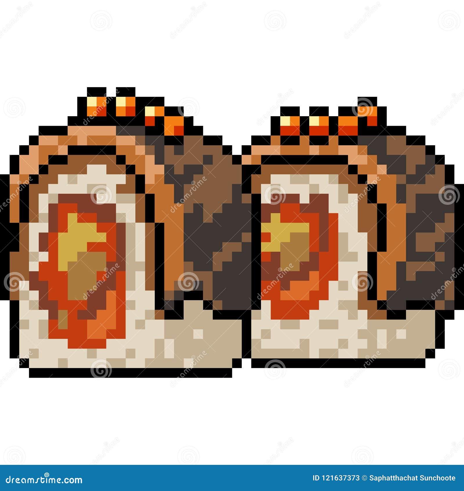 Vector Pixel Art Sushi Restaurant Stock Vector Illustration Of Food Fish 121637373