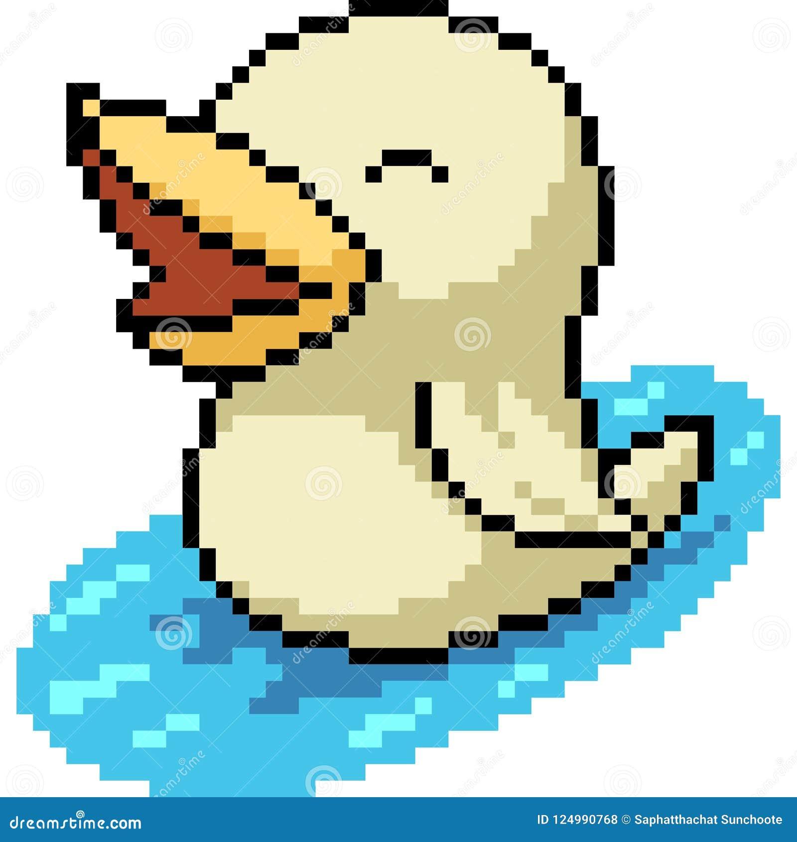 Vector Pixel Art White Duck Stock Vector