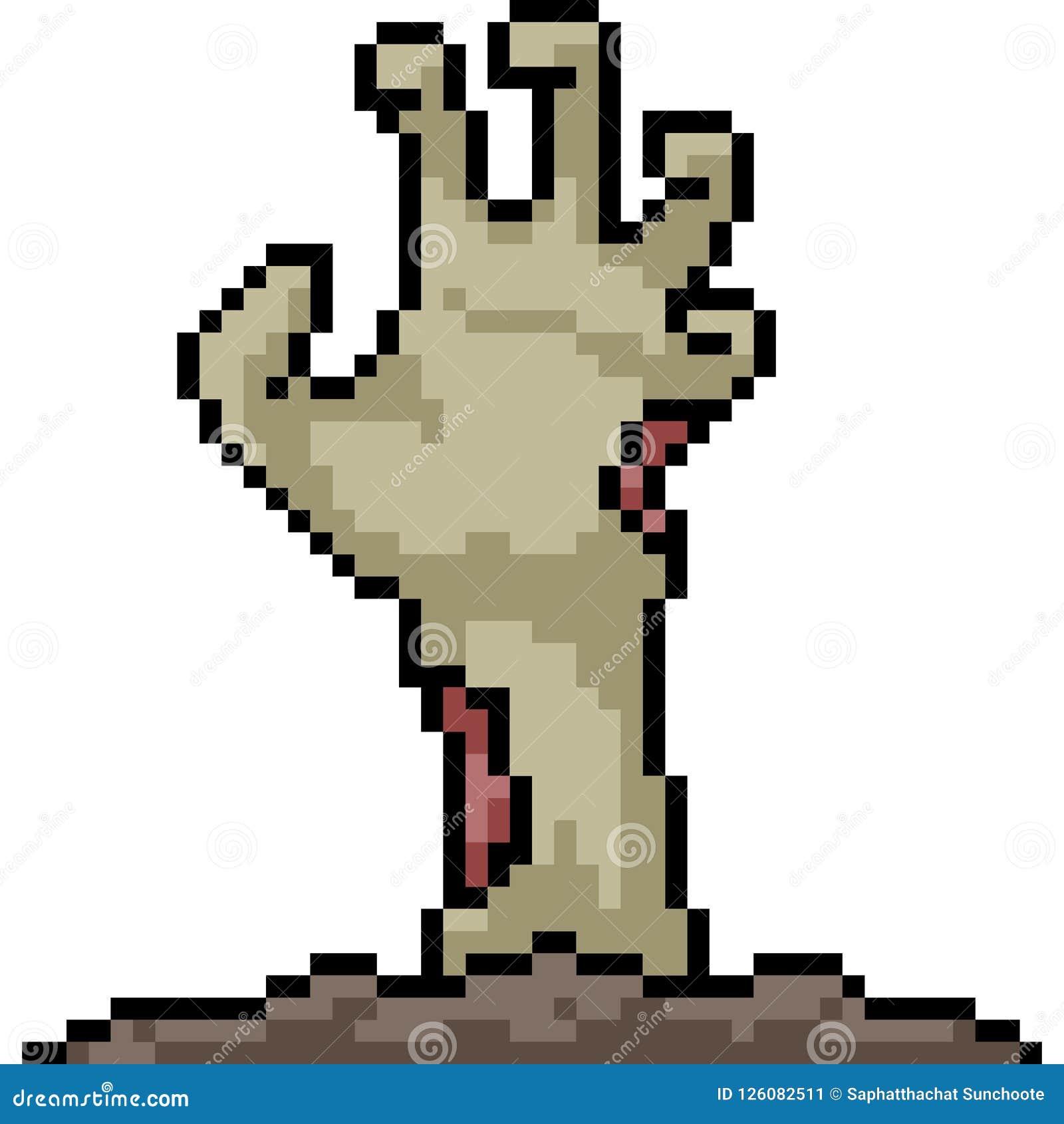 Vector Pixel Art Zombie Hand Stock Vector