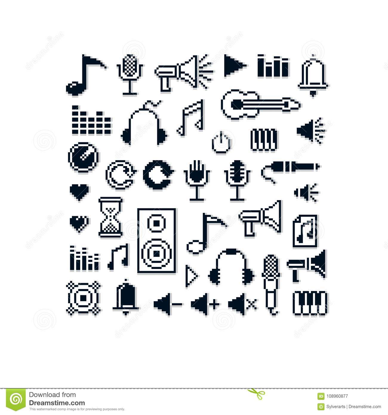 Vector Pixel Icons Isolated, Collection Of 8bit Music Graphic