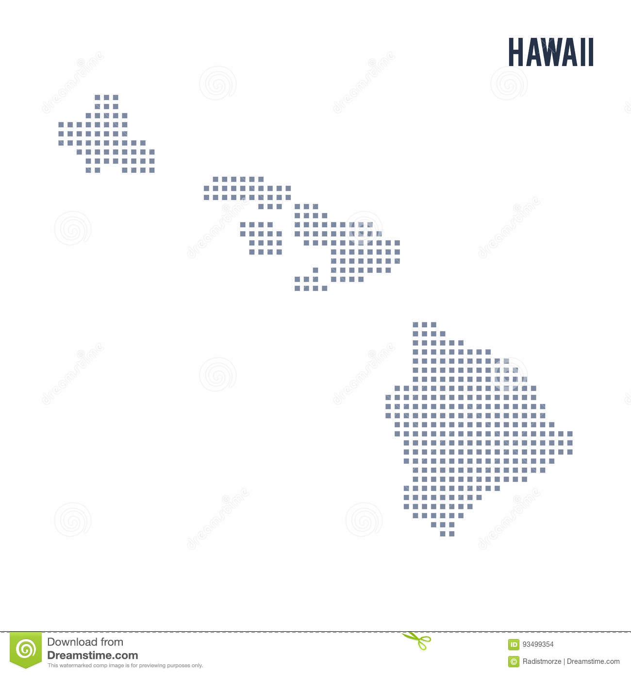 Vector Pixel Map State Of Hawaii Isolated On White Background Stock