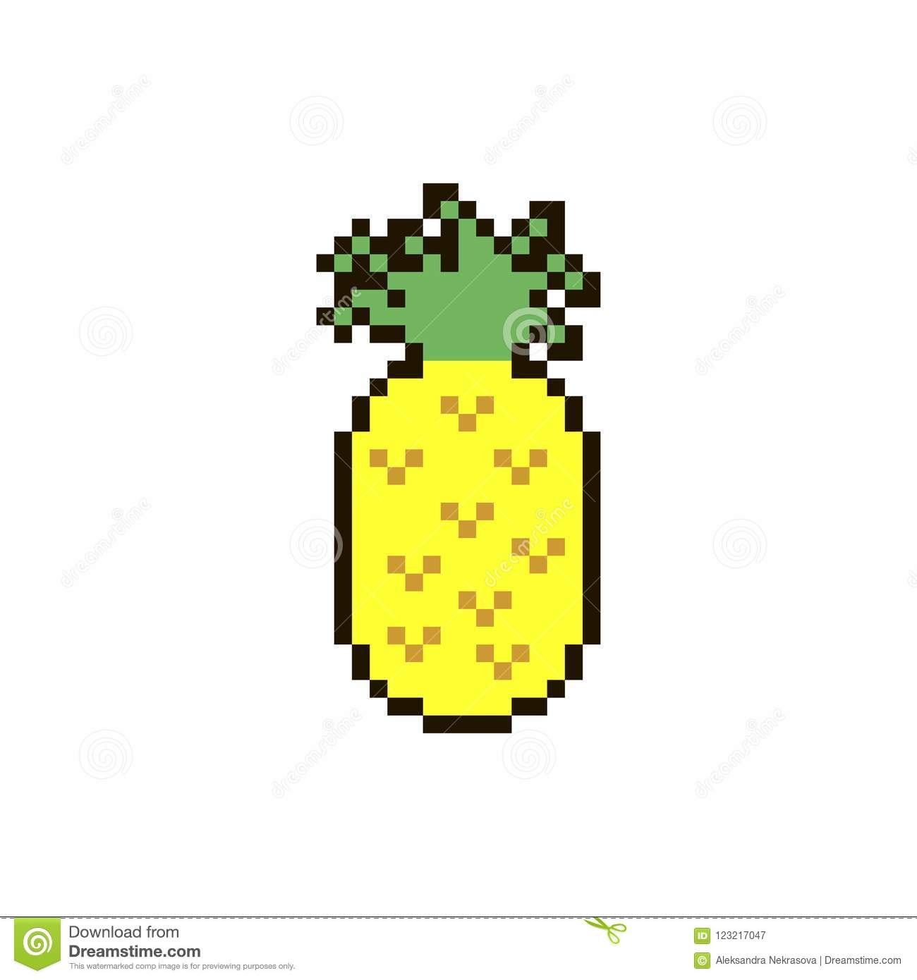 Vector Pixel Pinapple Stock Vector Illustration Of Isolated