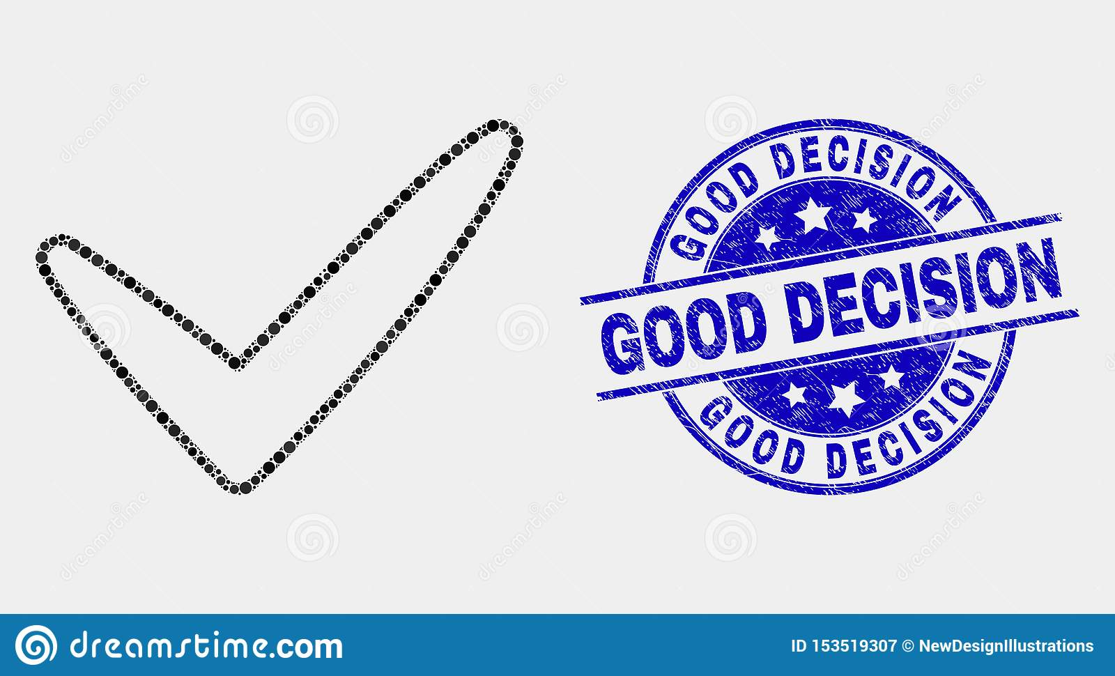 Vector Pixel Yes Tick Icon and Distress Good Decision Watermark
