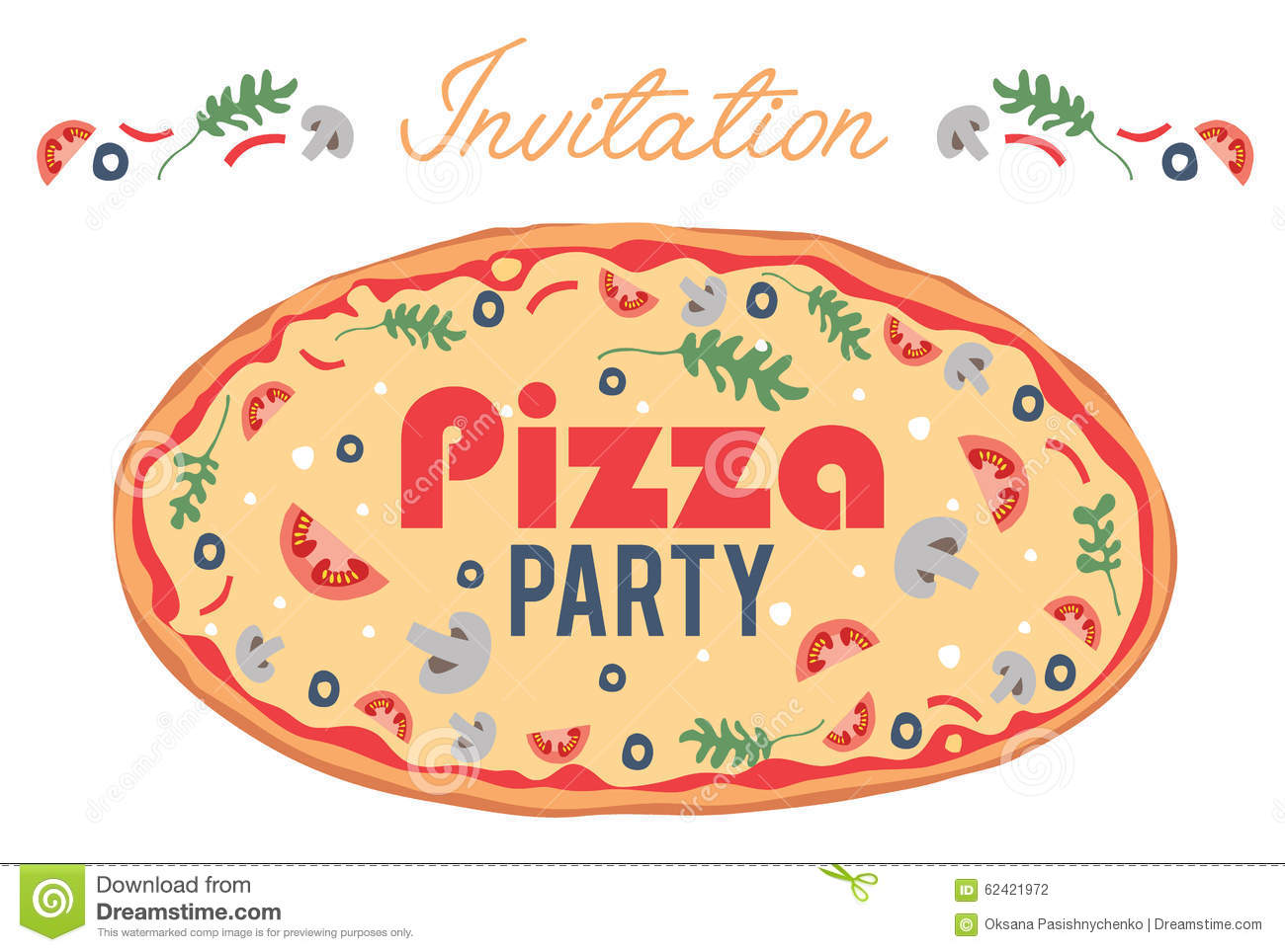 vector pizza party invitation poster flyer card stock