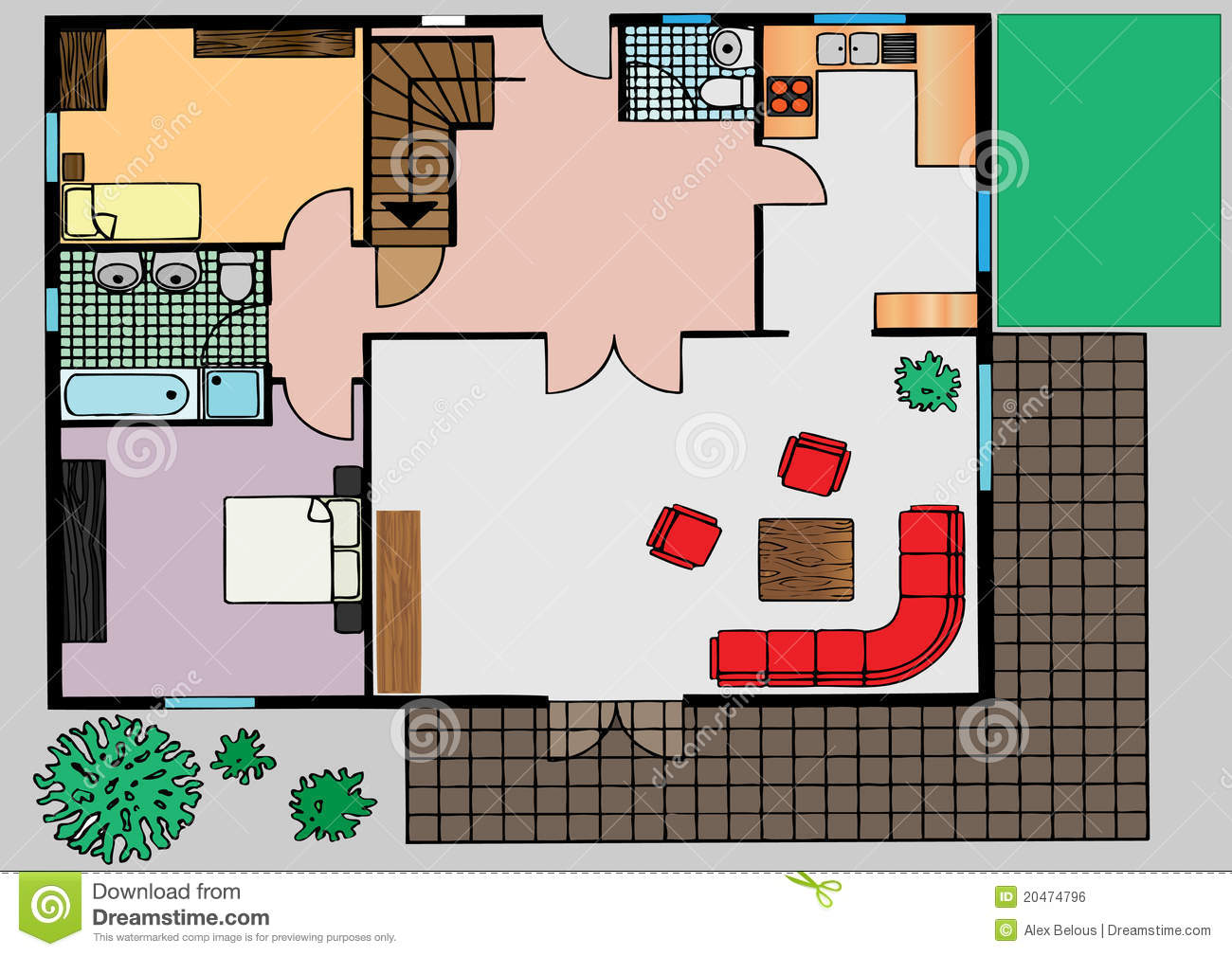 Vector Plan Of Apartment The Top View Stock Vector