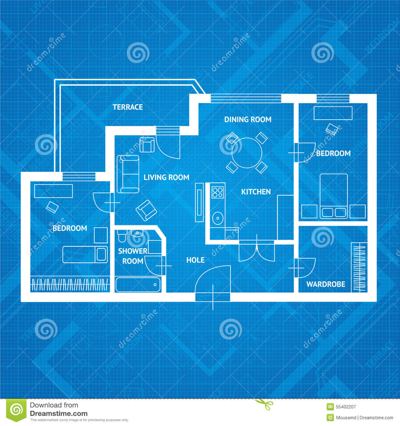 Apartment Design Blueprint vector plan blue print. flat design stock vector - image: 55402207
