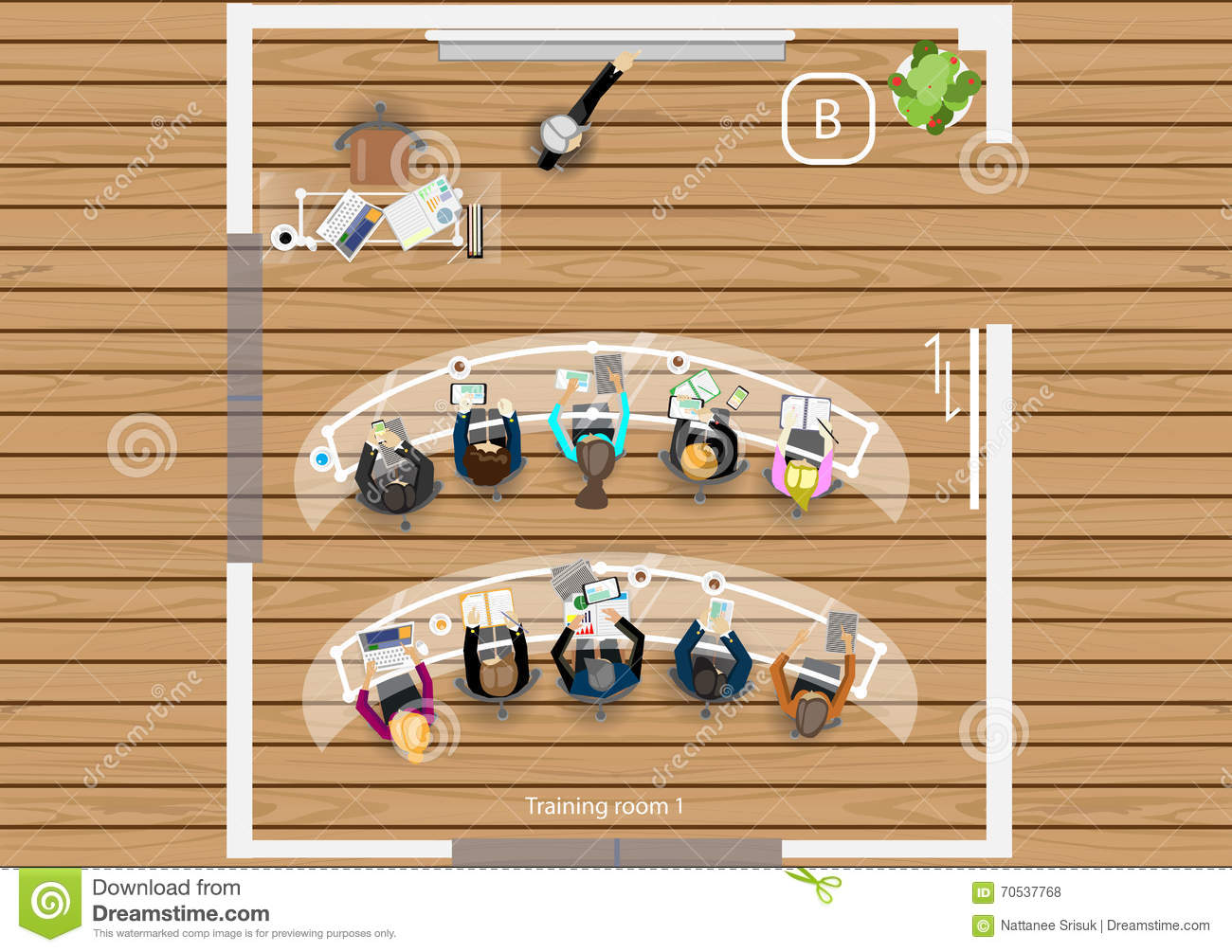 Vector Plan The Work Of A Business Meeting, Workshops And ...
