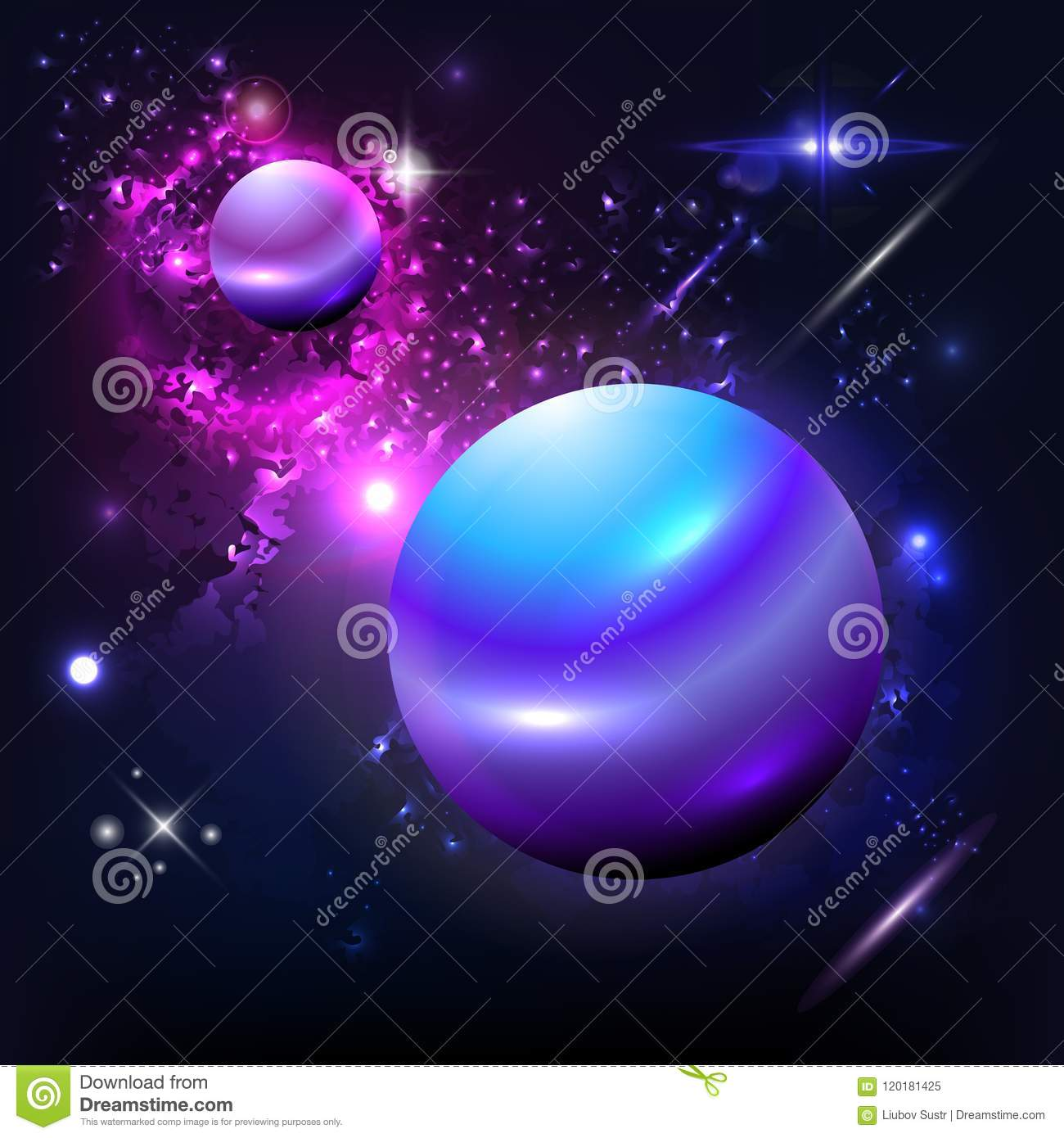 Vector Planet Galaxy And The Stars On Dark Background