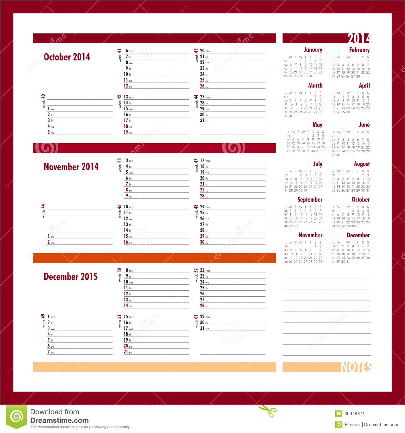 vector planner october november december three month calendar 30949871