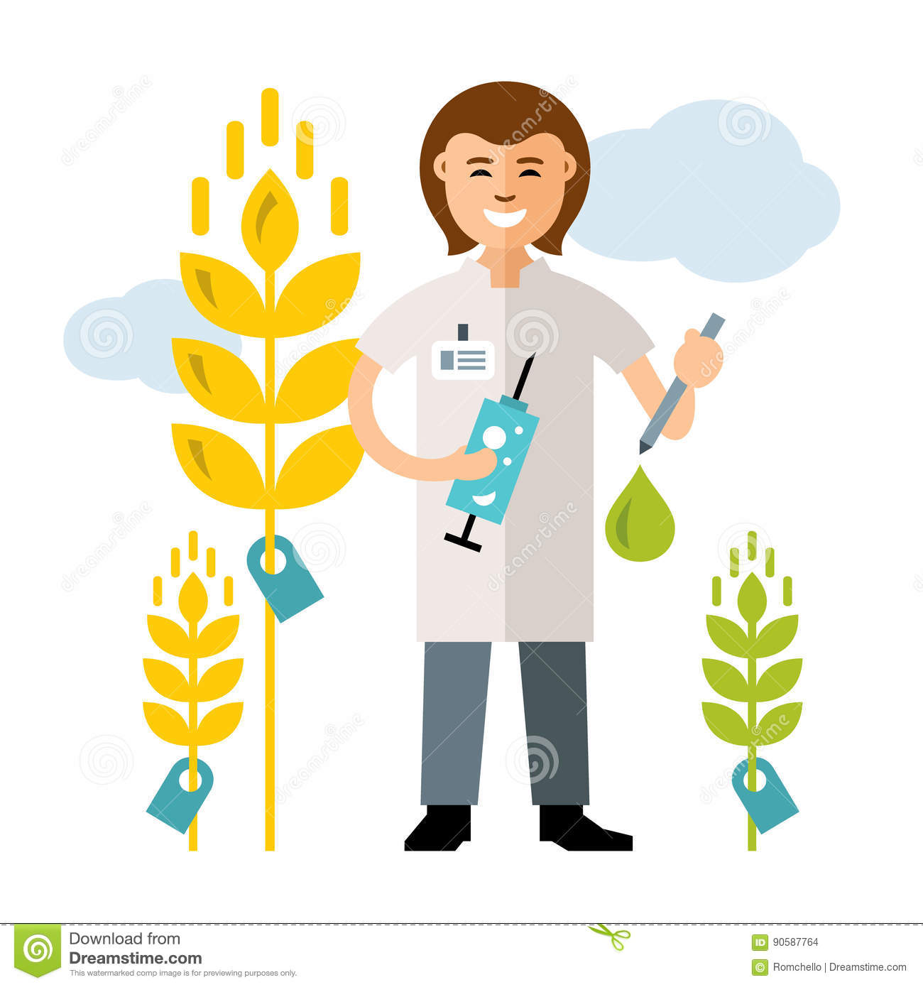 Vector Plant Breeding, Genetic Engineering. Agriculture And ...