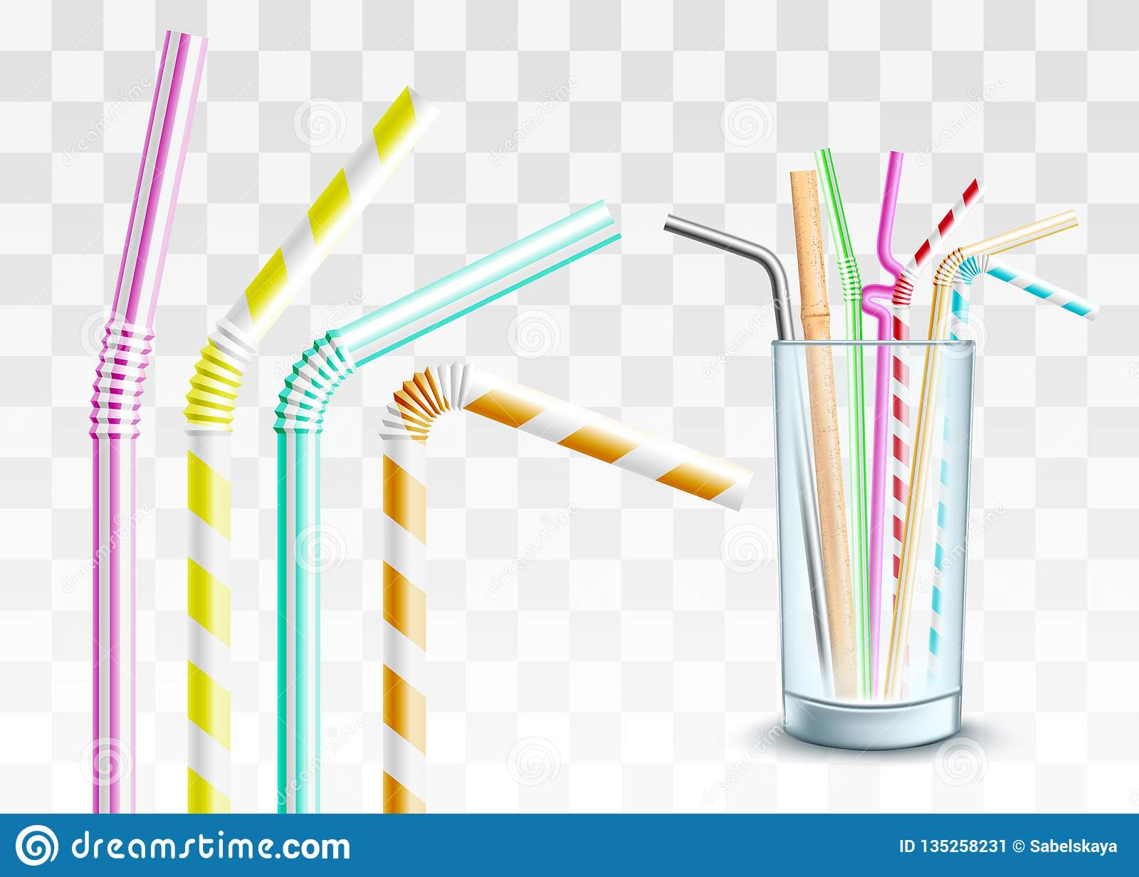 Vector Plastic Straw In Glass Cup Set Stock Vector