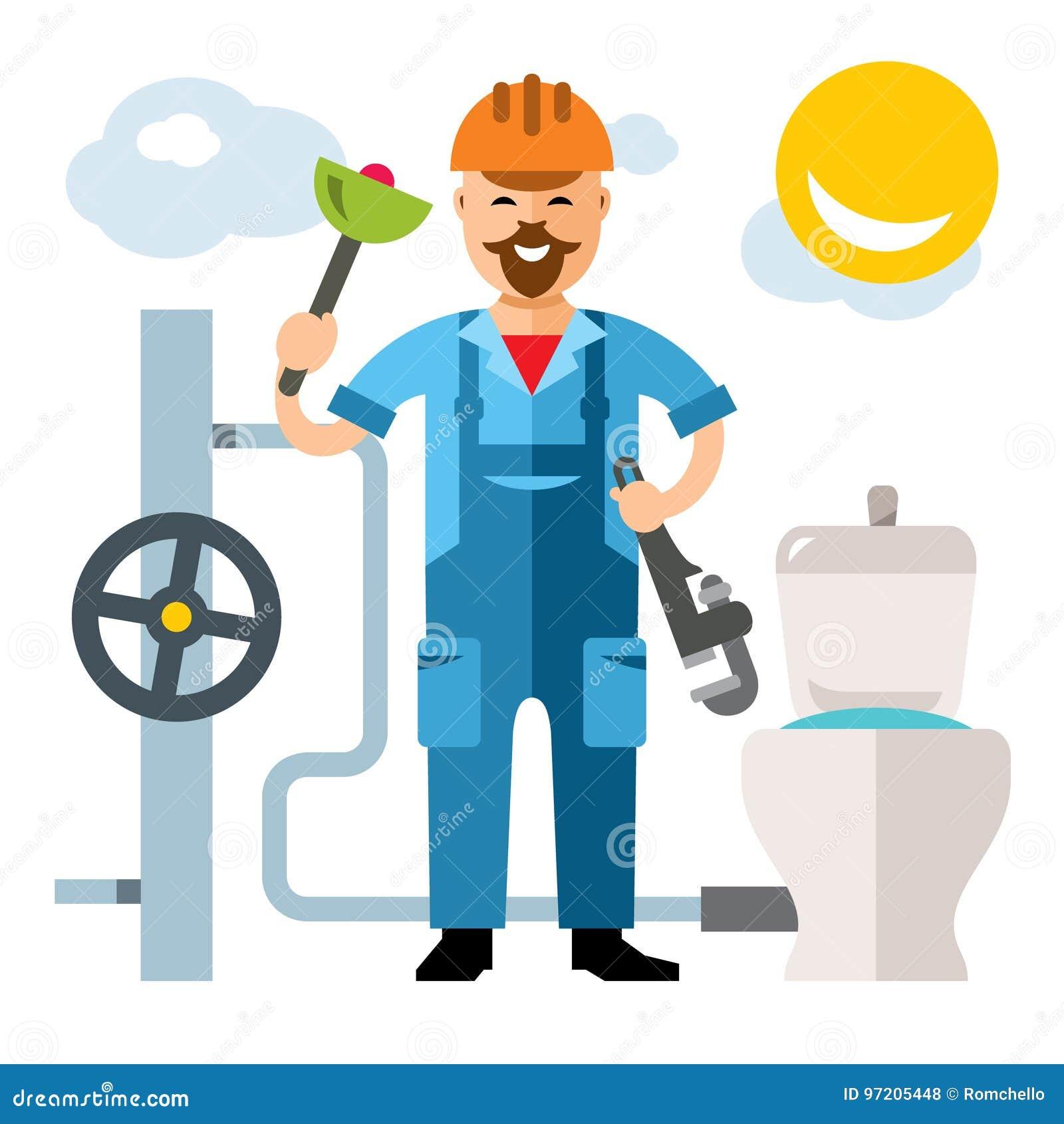 Vector illustration of an happy plumber cartoon