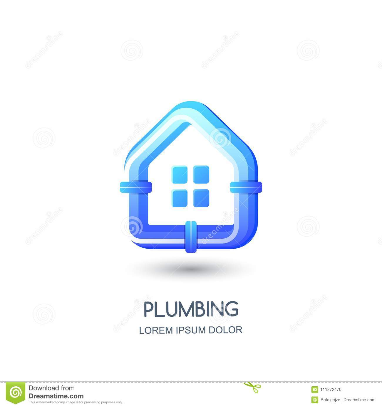 vector plumbing logo icon emblem design template blue pipe in