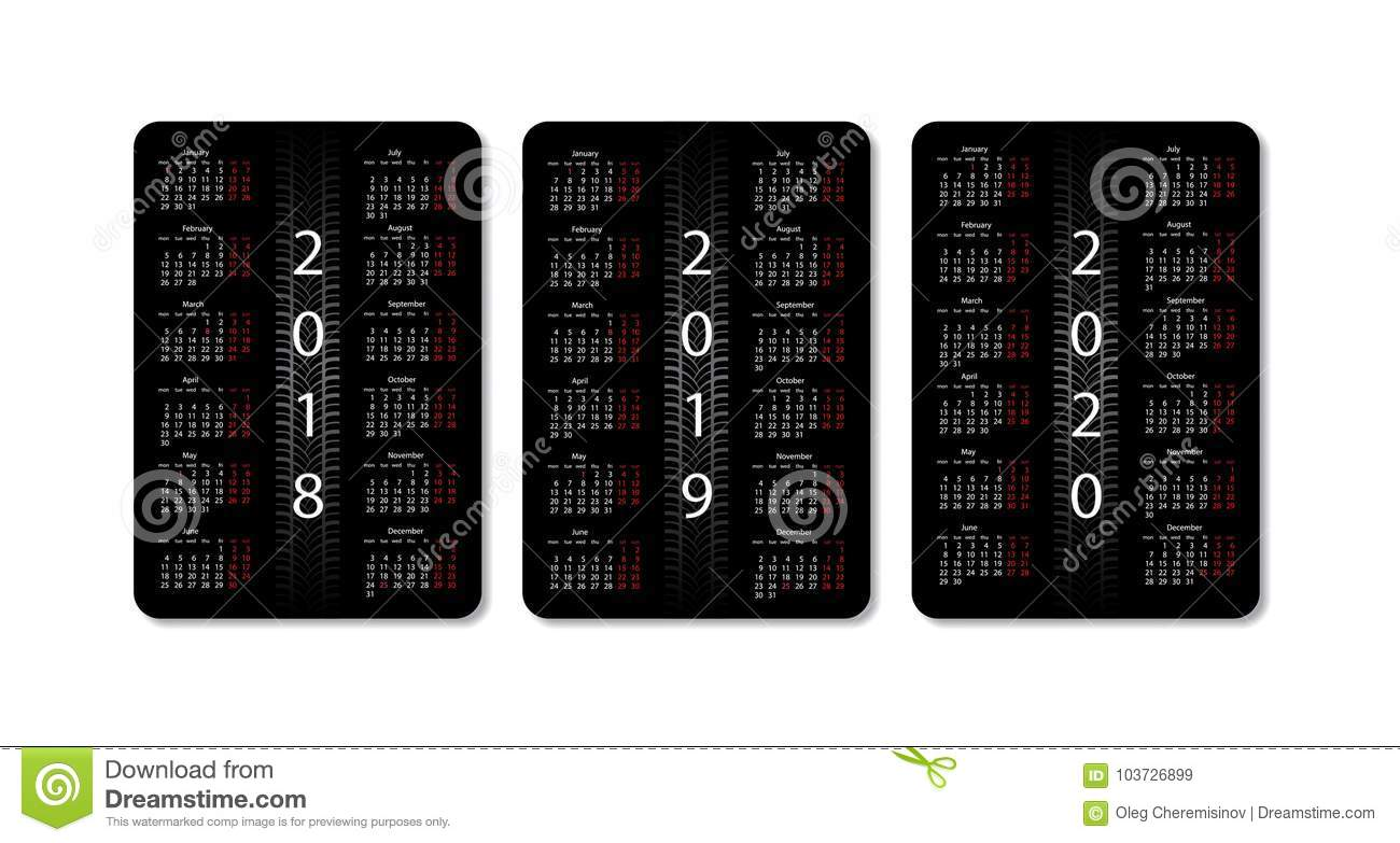 2020 2018 Pocket Calendar Vector Pocket Calendar Set. 2018, 2019 And 2020 Years. Black