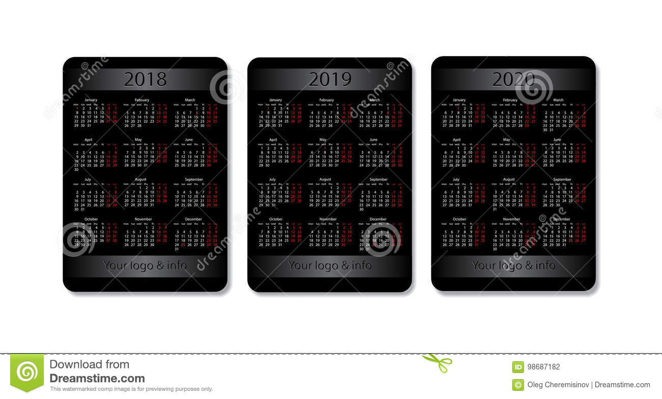 calendar for 2019 and 2020 vector illustration 50677558. Black Bedroom Furniture Sets. Home Design Ideas