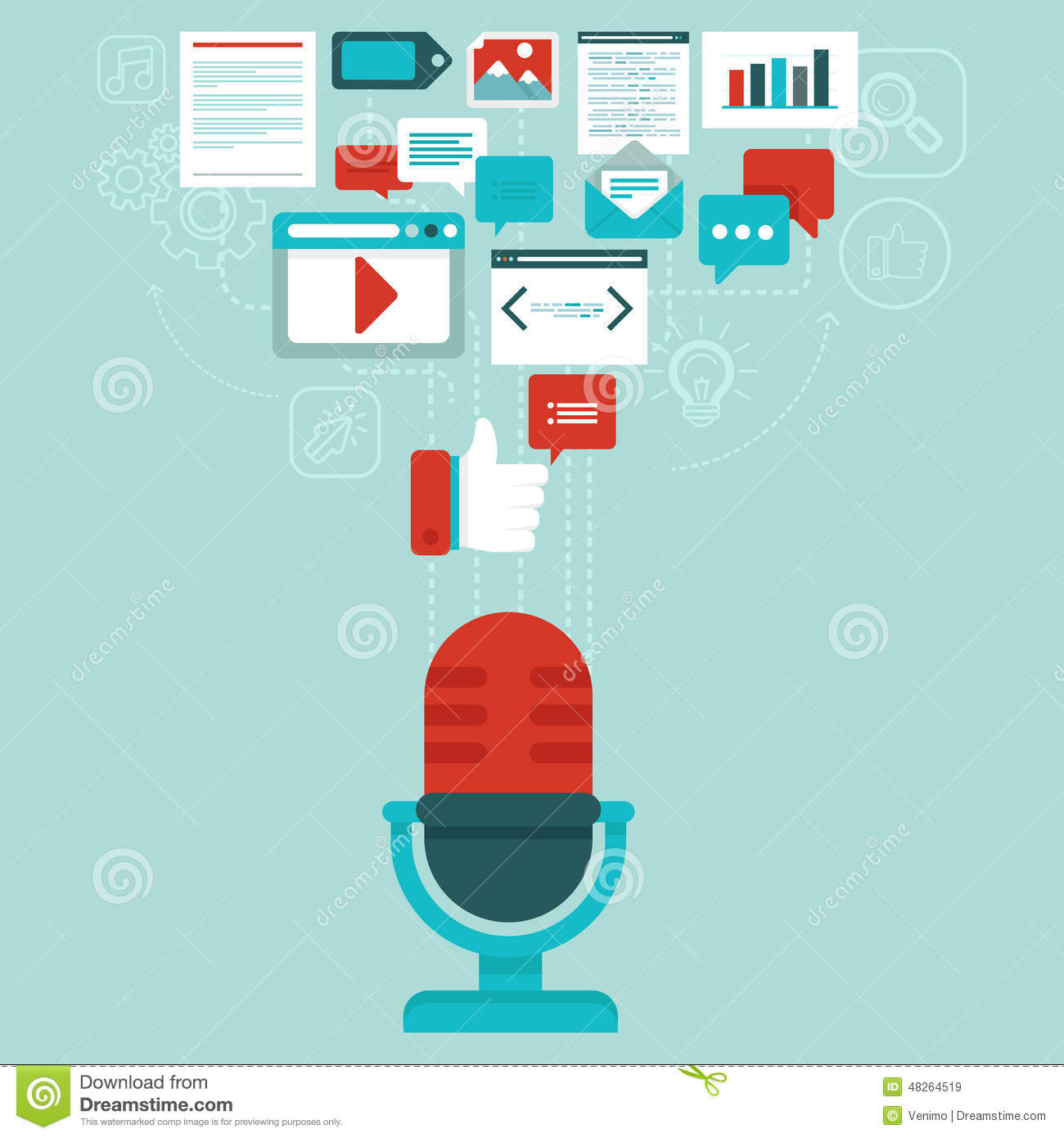 Vector podcast concept in flat style