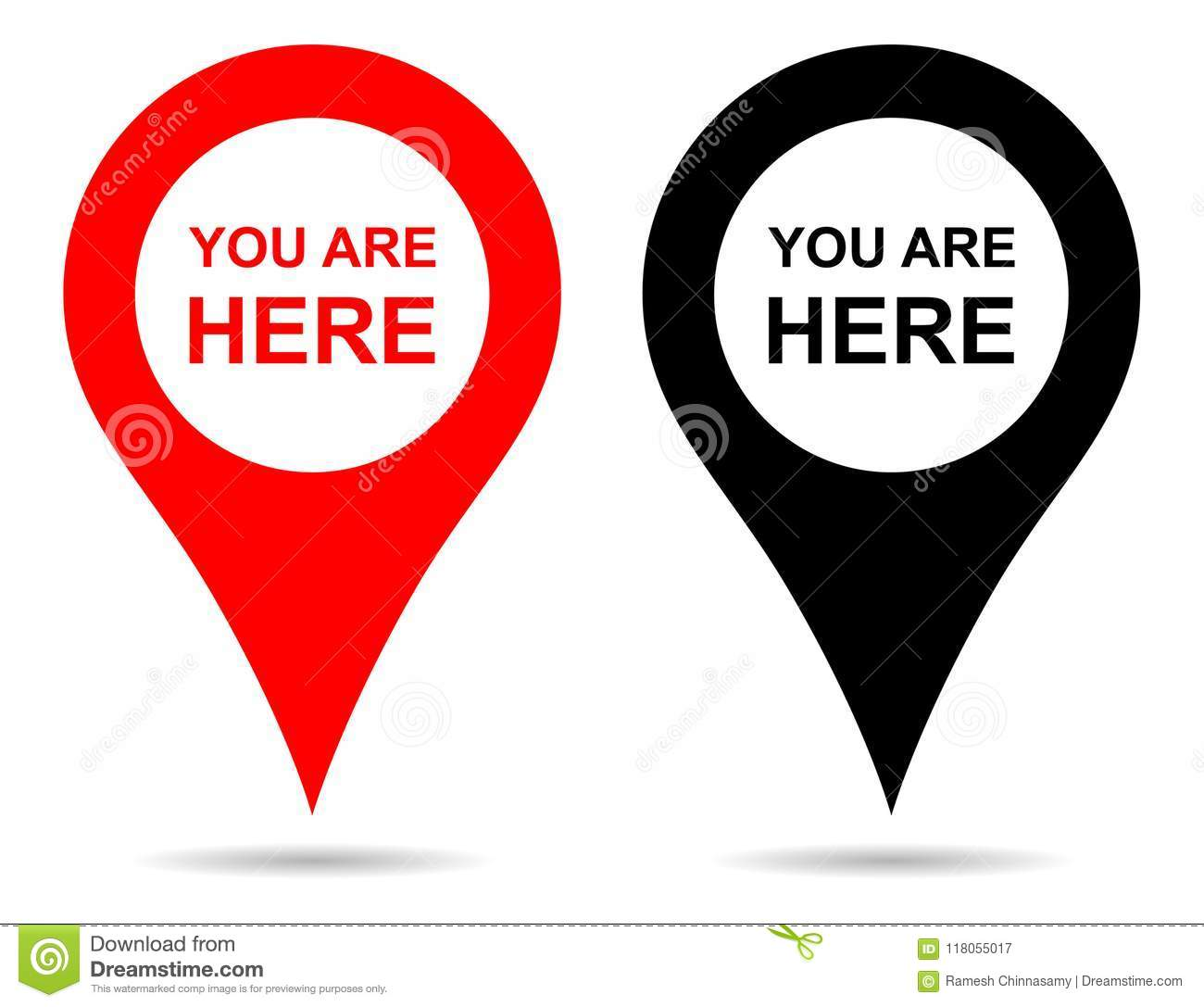 Vector pointer map pin navigation. you are here sign