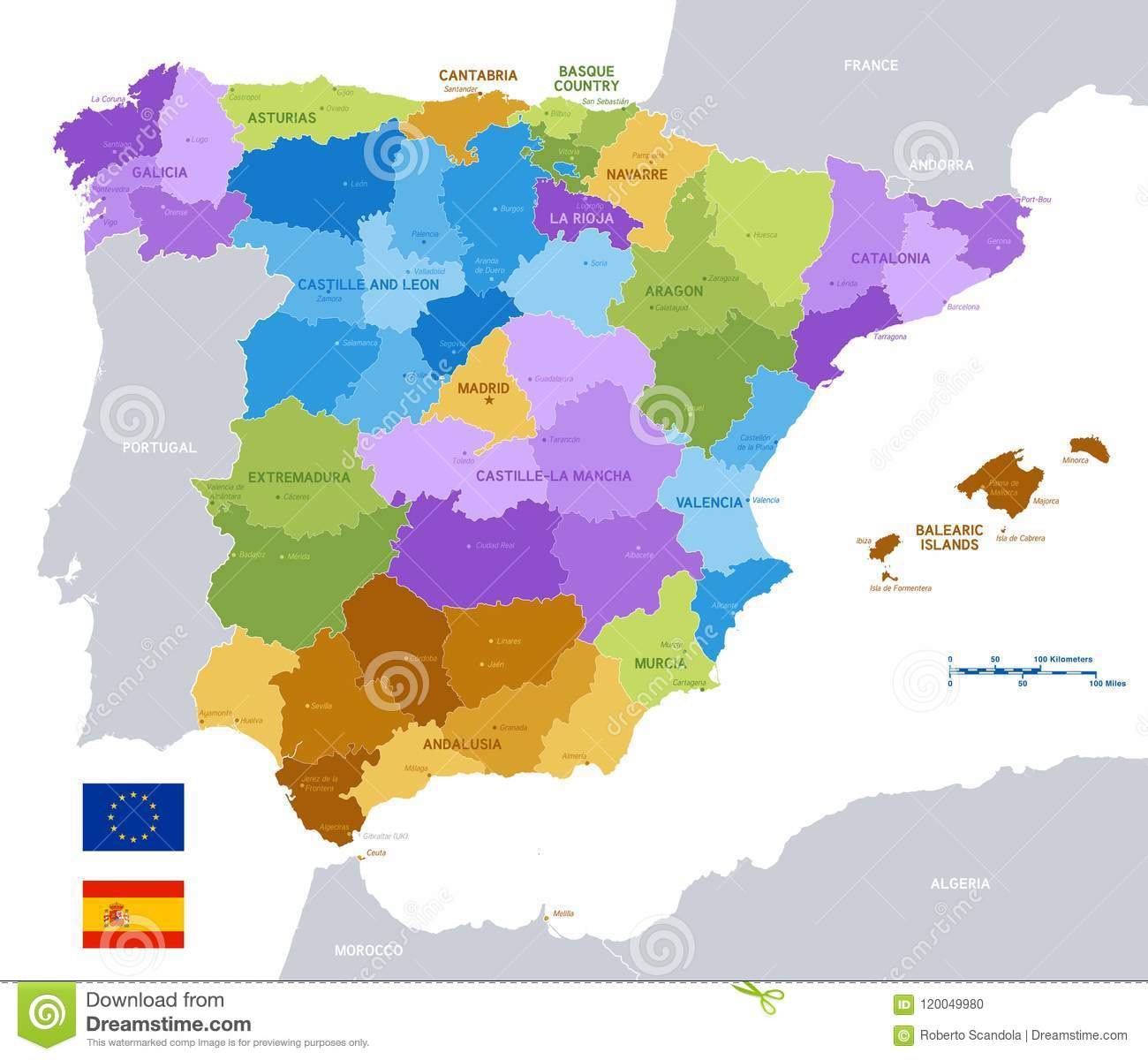 Vector Colorful Administrative Map Of Spain Stock Vector