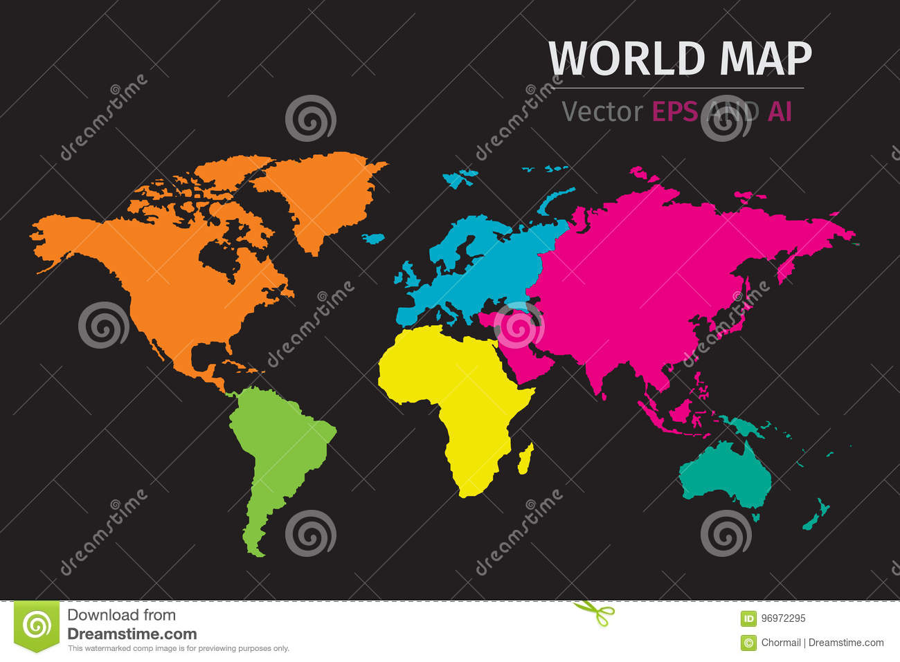 Vector political world map using different colors on each continent vector political world map using different colors on each continent gumiabroncs Image collections