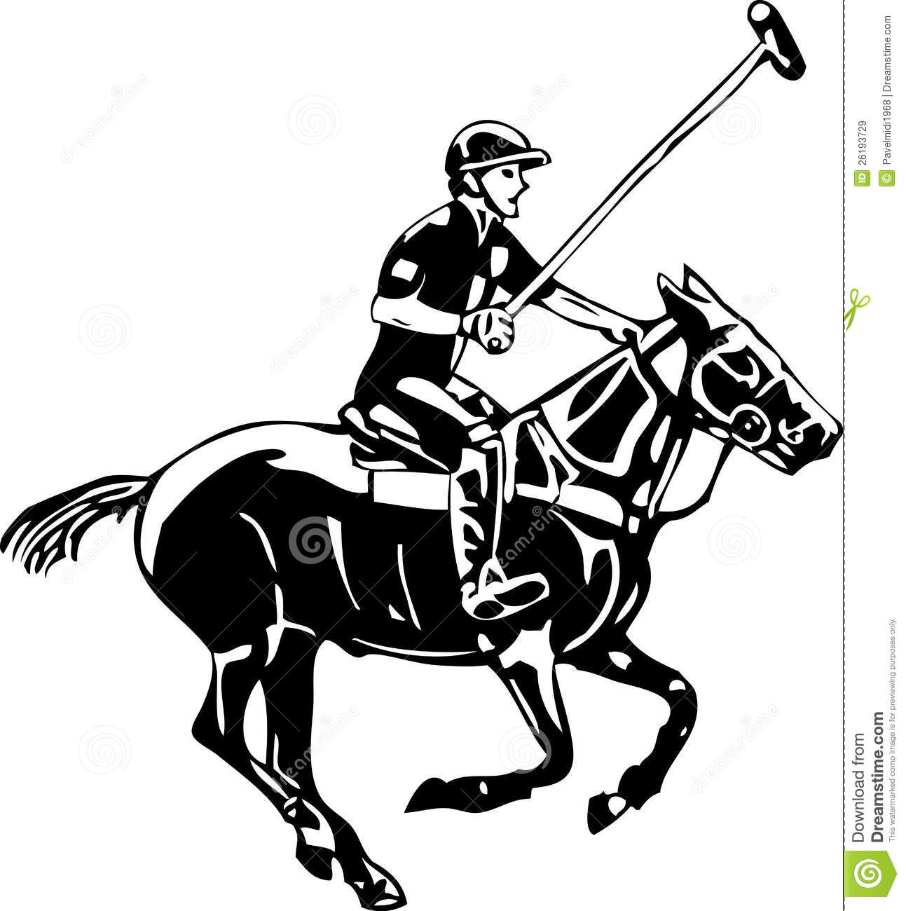 Vector Polo Horse And Player Royalty Free Stock Images
