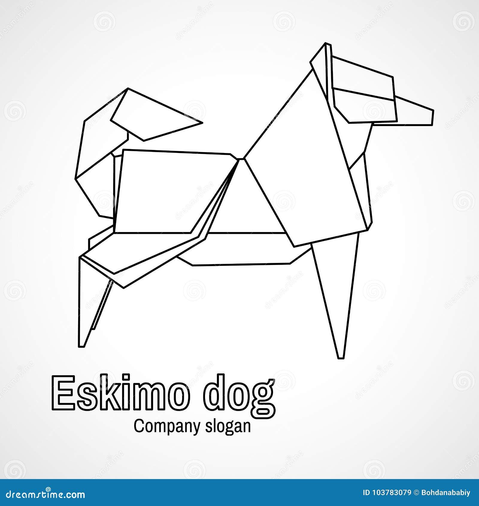 Vector Illustration Of Outline Origami Dog Stock Diagram