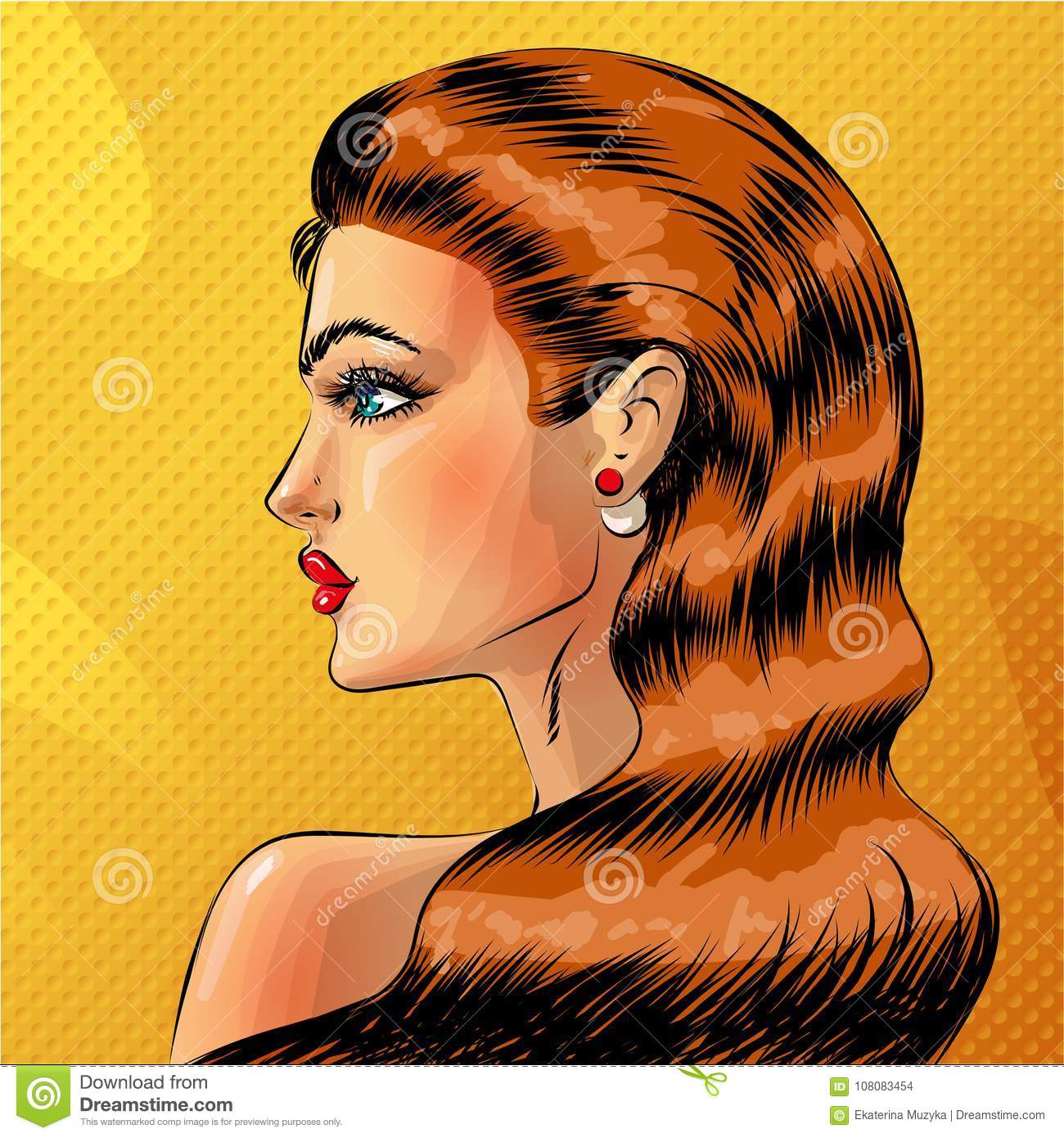 Vector pop art beautiful woman side view portrait redheaded pin up girl in comic book style