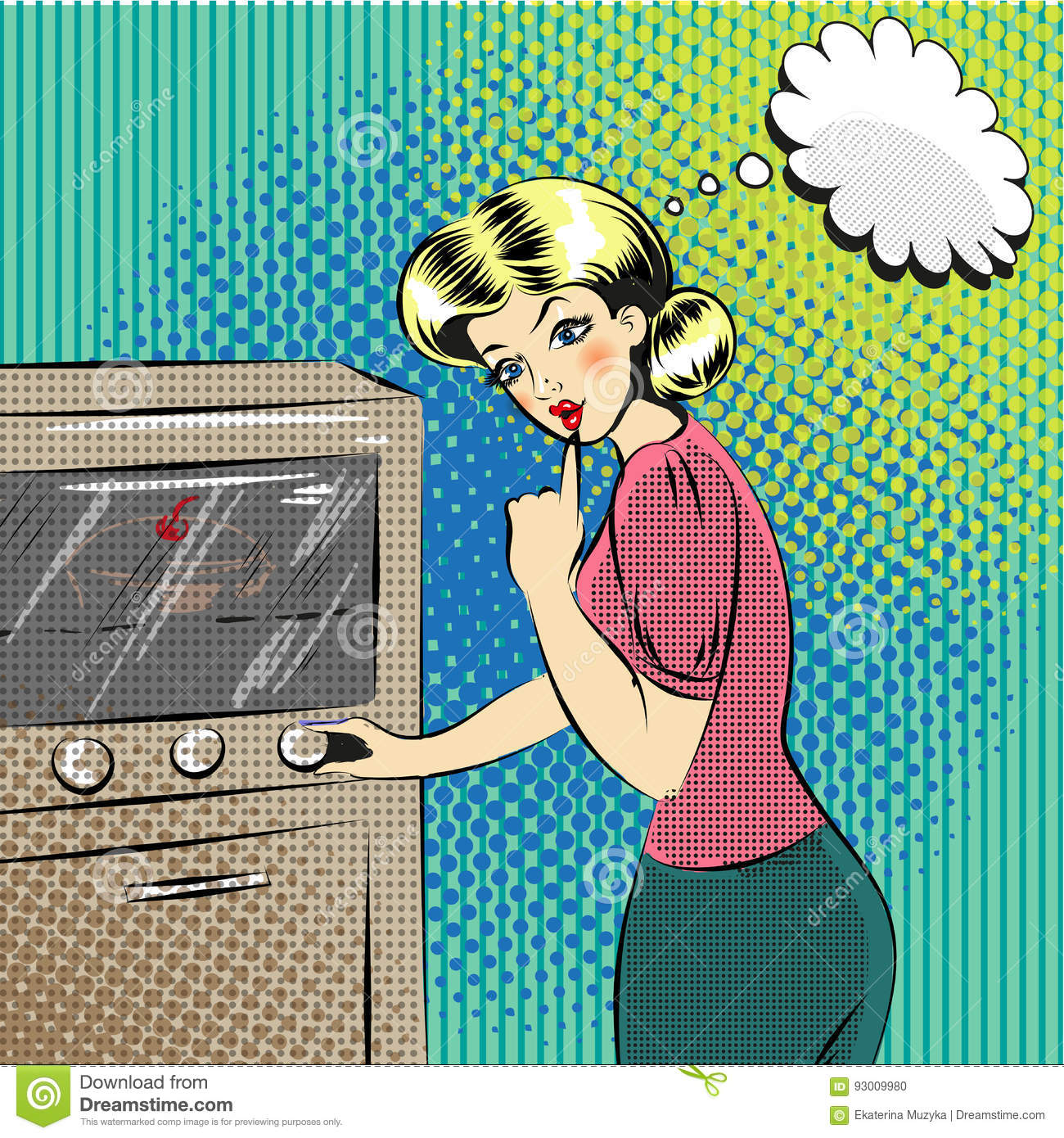 Vector Pop Art Illustration Of Pretty Housewife In The Kitchen ...