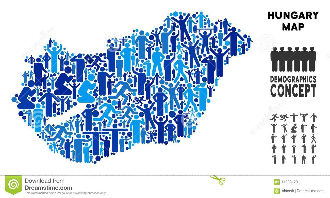 Demographics Hungary Map stock vector  Illustration of mass