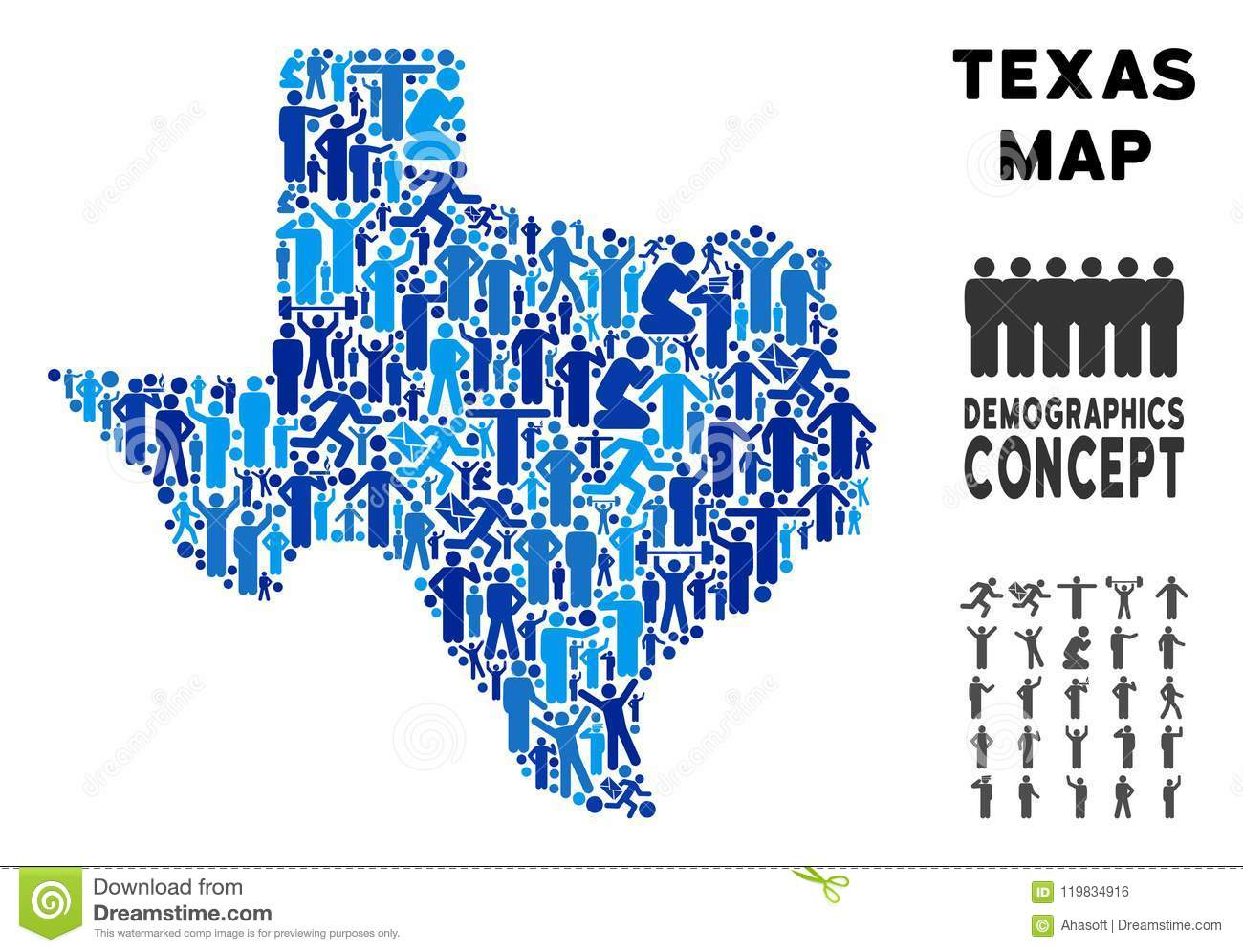 Population Map Of Texas.Demographics Texas Map Stock Vector Illustration Of Land 119834916