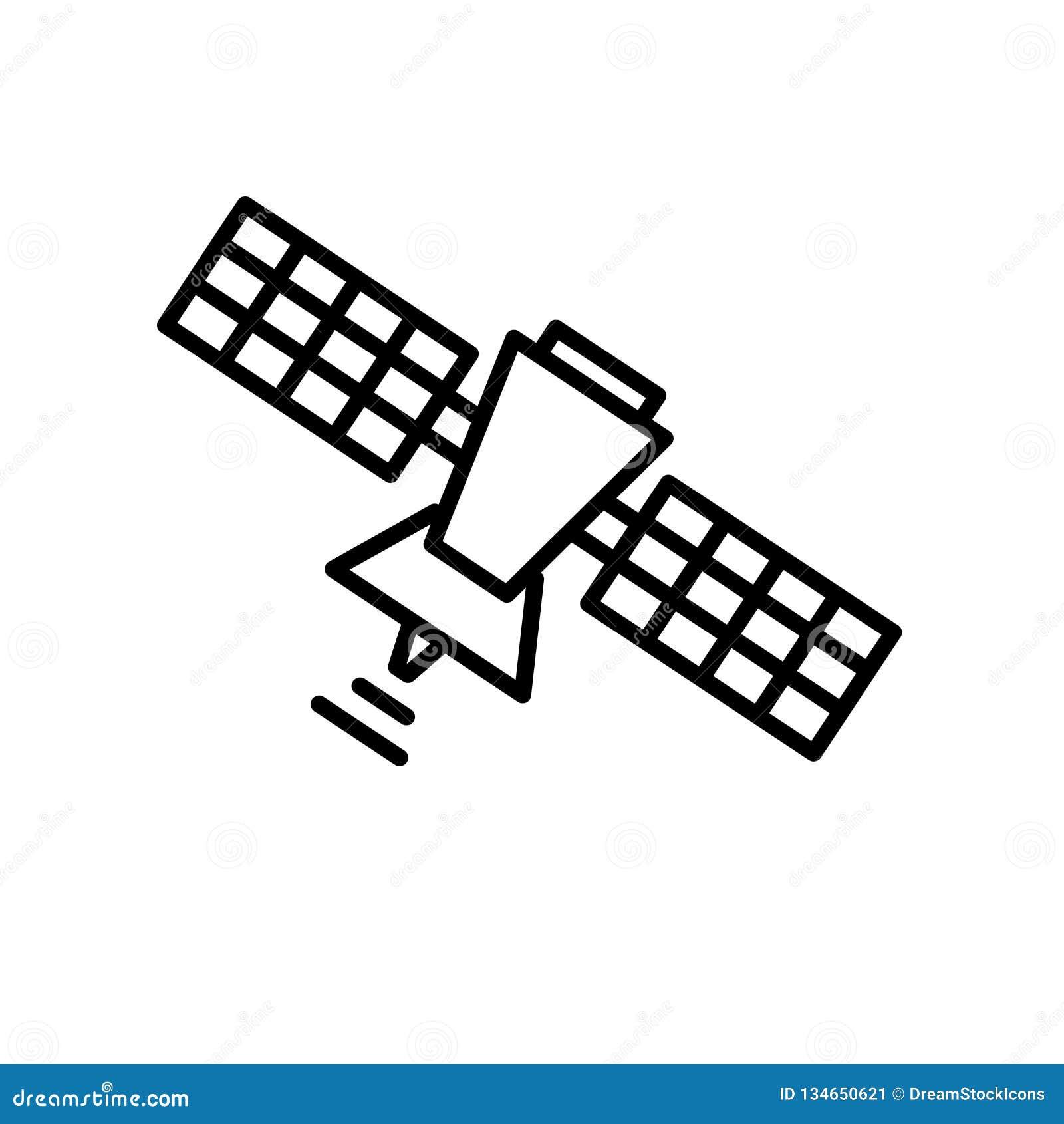 Vector por satélite del icono aislado en el fondo blanco, la muestra por satélite, la línea o la muestra linear, diseño del eleme