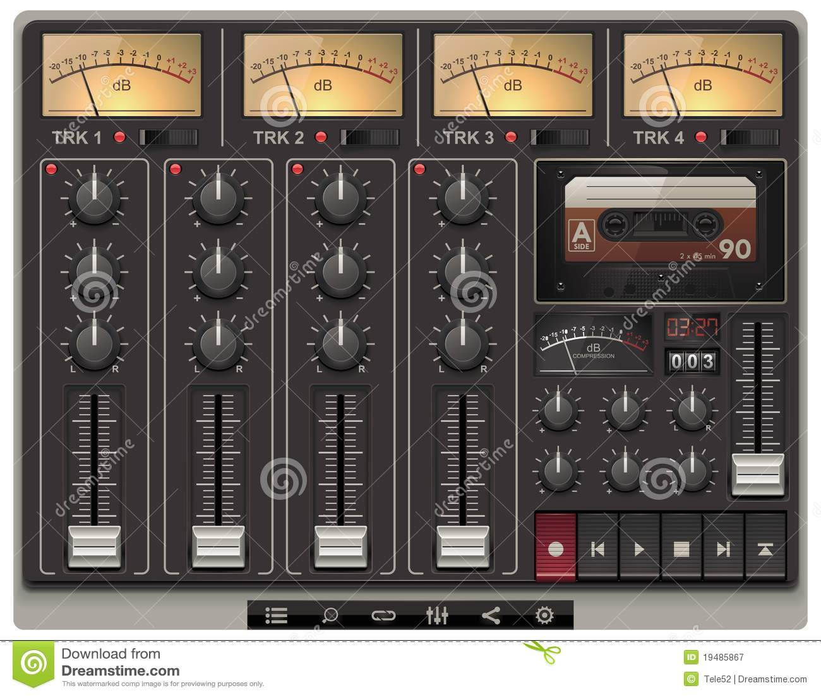 vector portable recording studio template with ico royalty