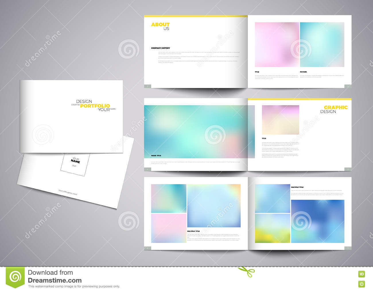 Vector portfolio template modern design stock illustration for Graphic designer portfolio template free download