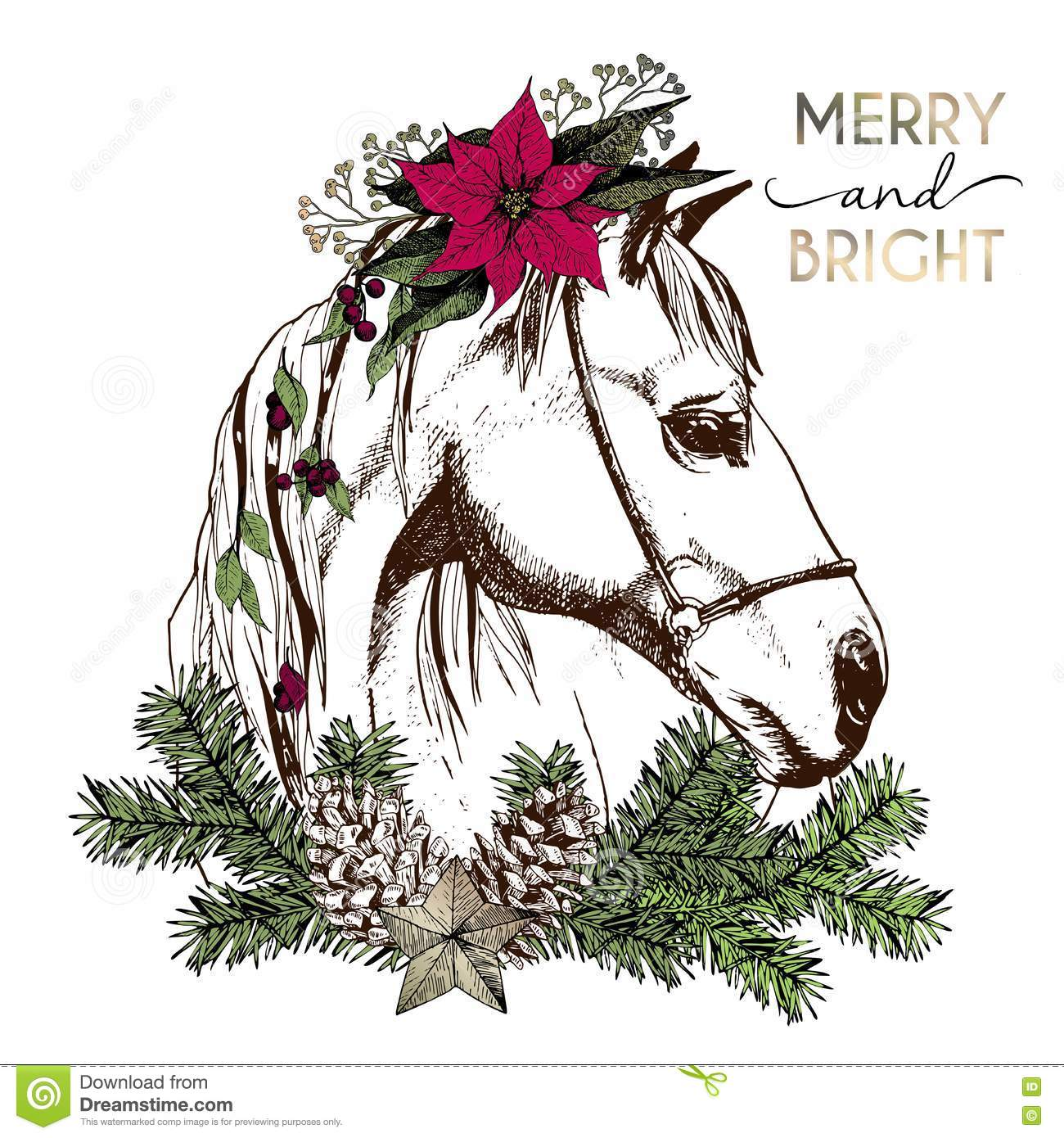 vector portrait of boho christmas horse decorated with winter