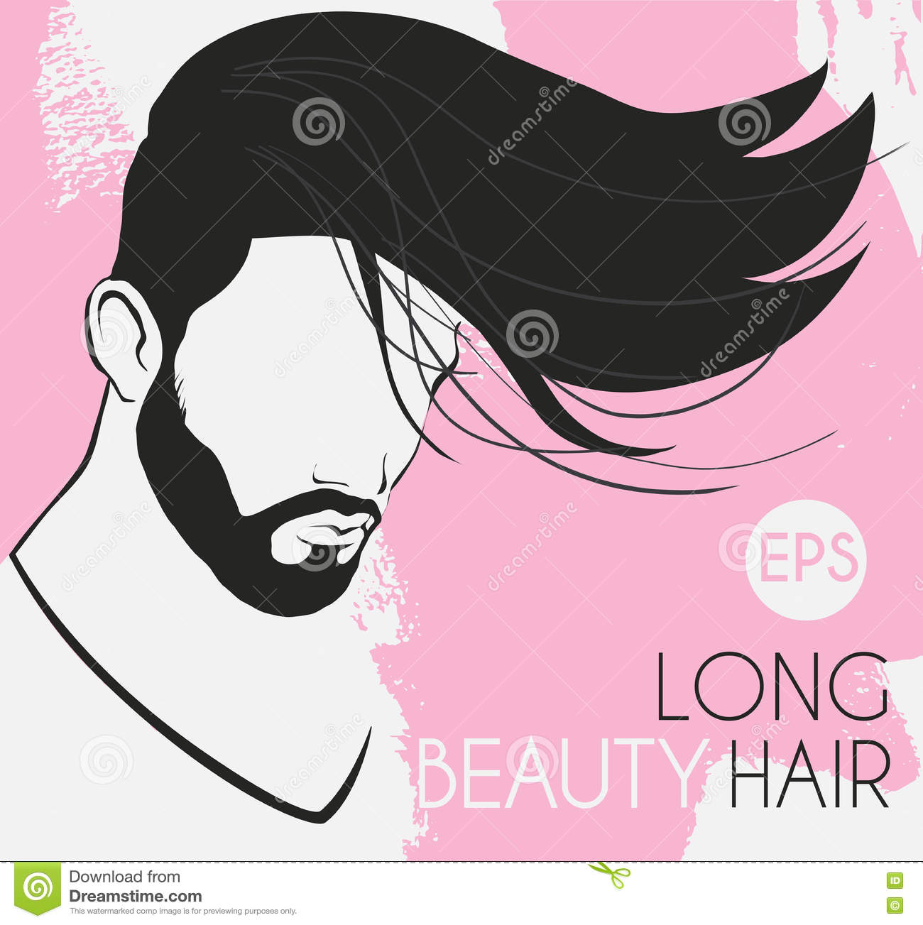 Vector Portrait Of A Man With A Beard With Long Hair Beautiful ...
