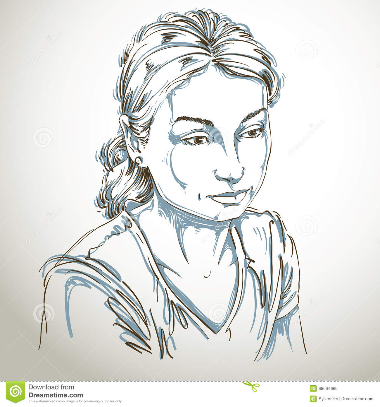 Vector Portrait Of Sad Attractive Woman, Illustration Of Good-looking  Sorrowful Female. Person Emotional Face Expression. Stock Vector -  Illustration of meditative, face: 68064666