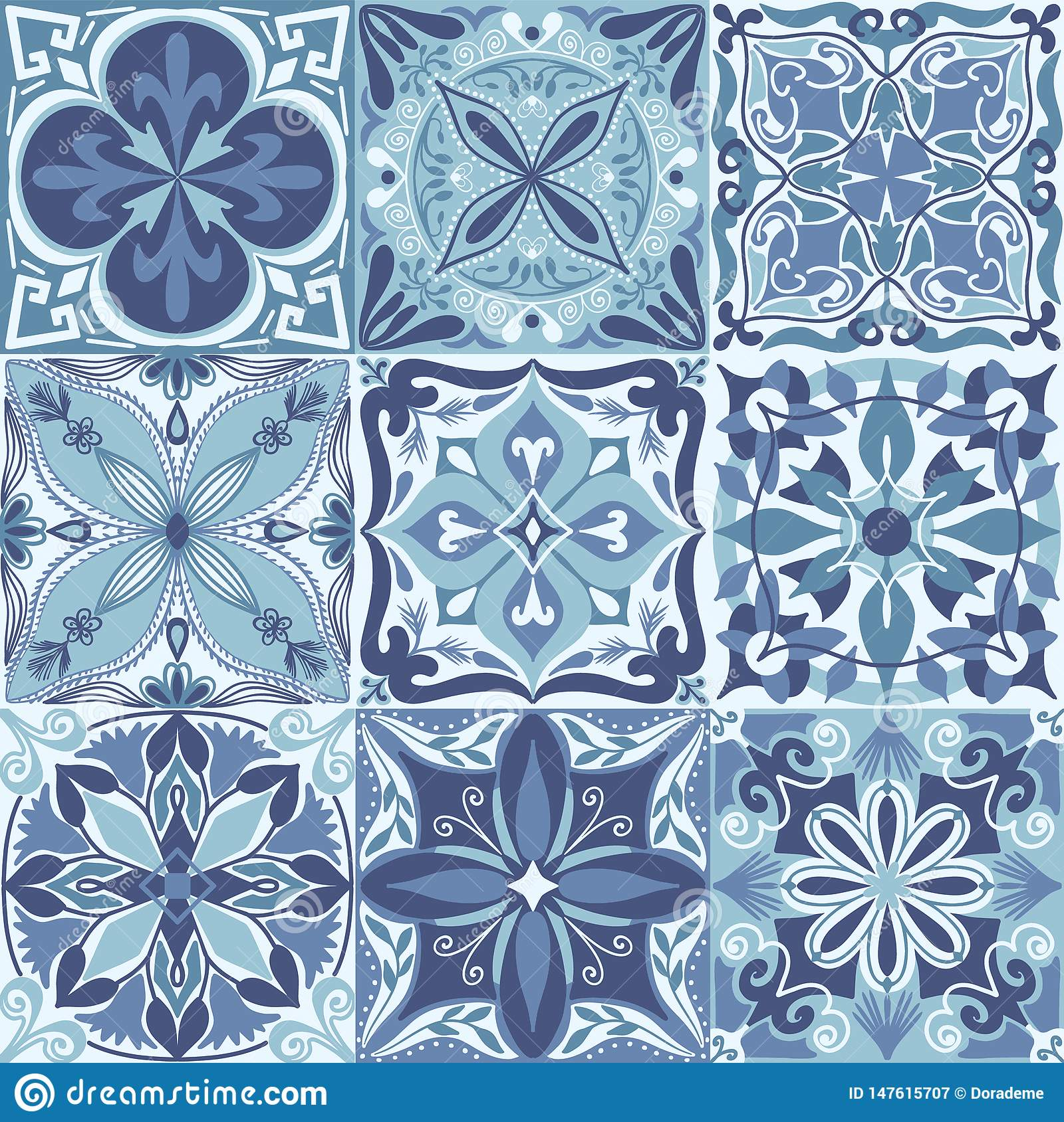 Vector Portuguese Azulejo Tiles Seamless Pattern Background