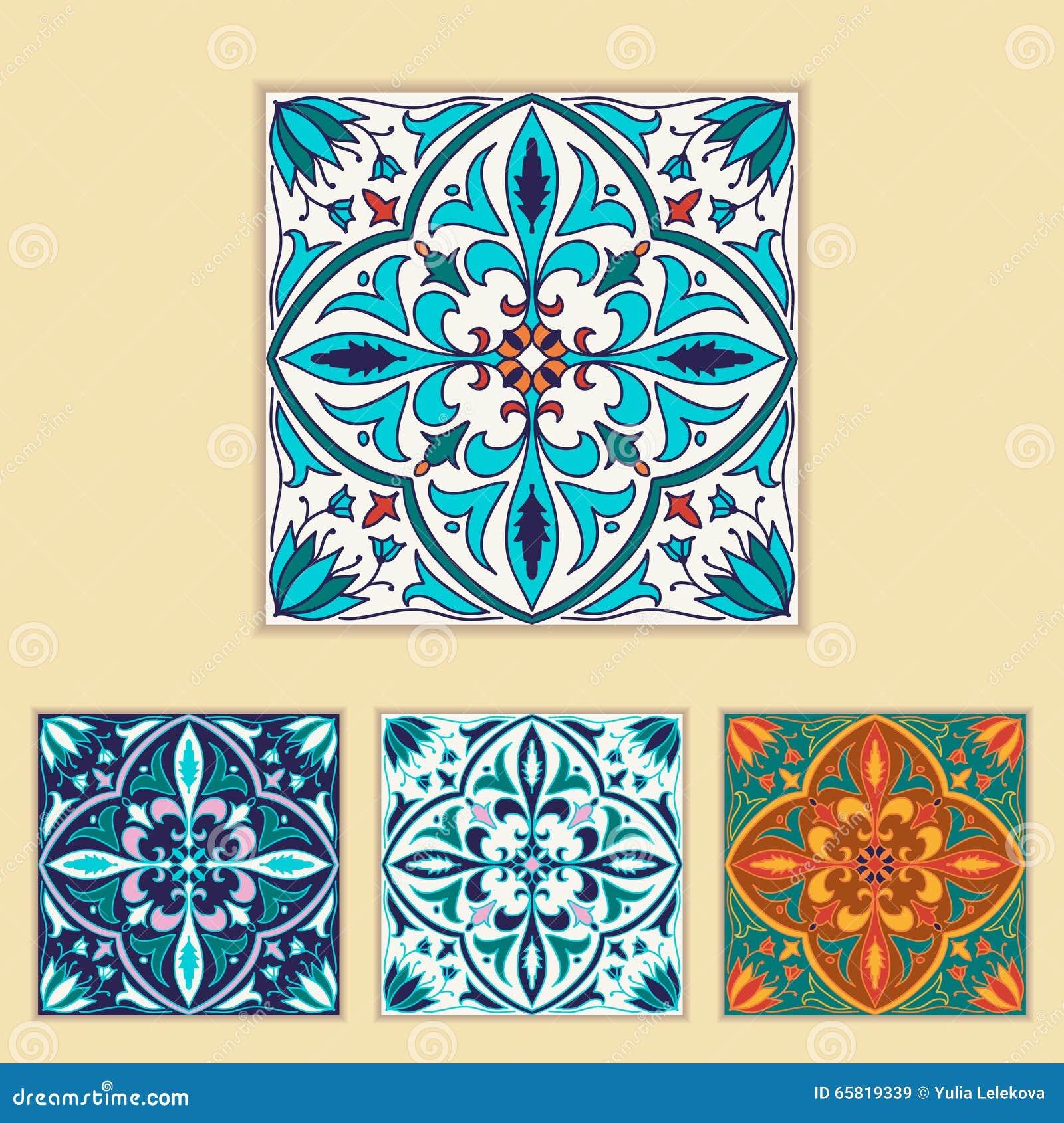 Vector Portuguese Tile Design In Four Different Color. Beautiful ...