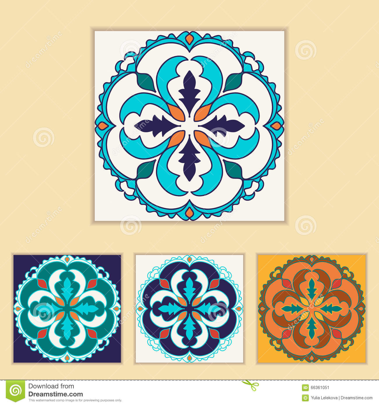 Vector Portuguese Tile Design In Four Different Color Beautiful Colored Pattern For Design And Fashion With Decorative Elements Stock Vector Illustration Of Collage Design 66361051
