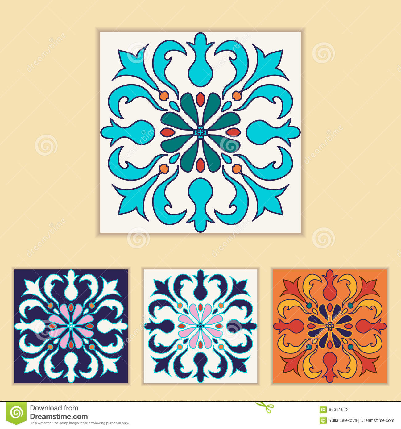 Vector Portuguese Tile Design In Four Different Color Beautiful Colored Pattern For Design And Fashion With Decorative Elements Illustration 66361072 Megapixl