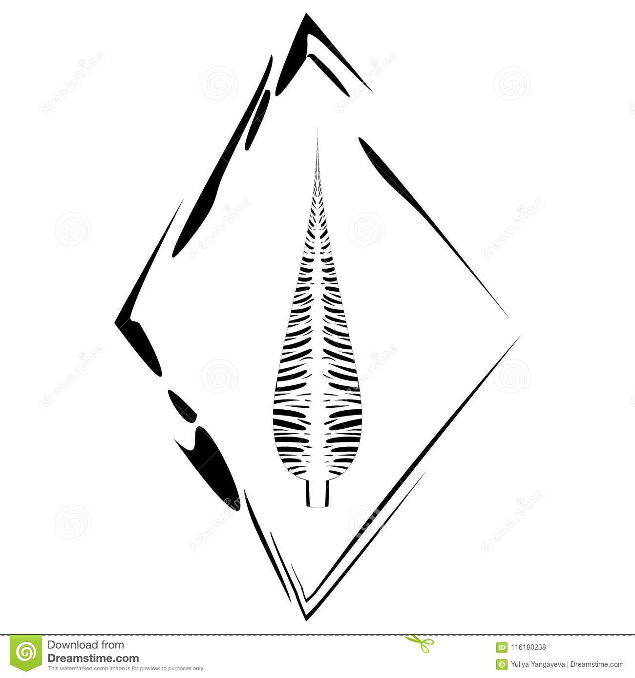 Vector postcard with a feather in a rhombus frame in ethnic style on a white background.