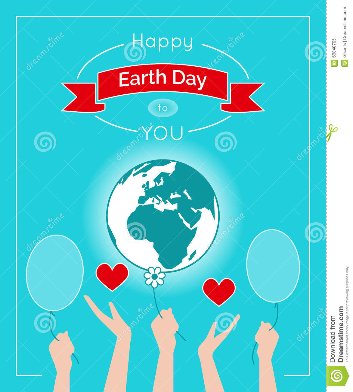Vector Poster For 22 April, Earth Day. Stock Vector