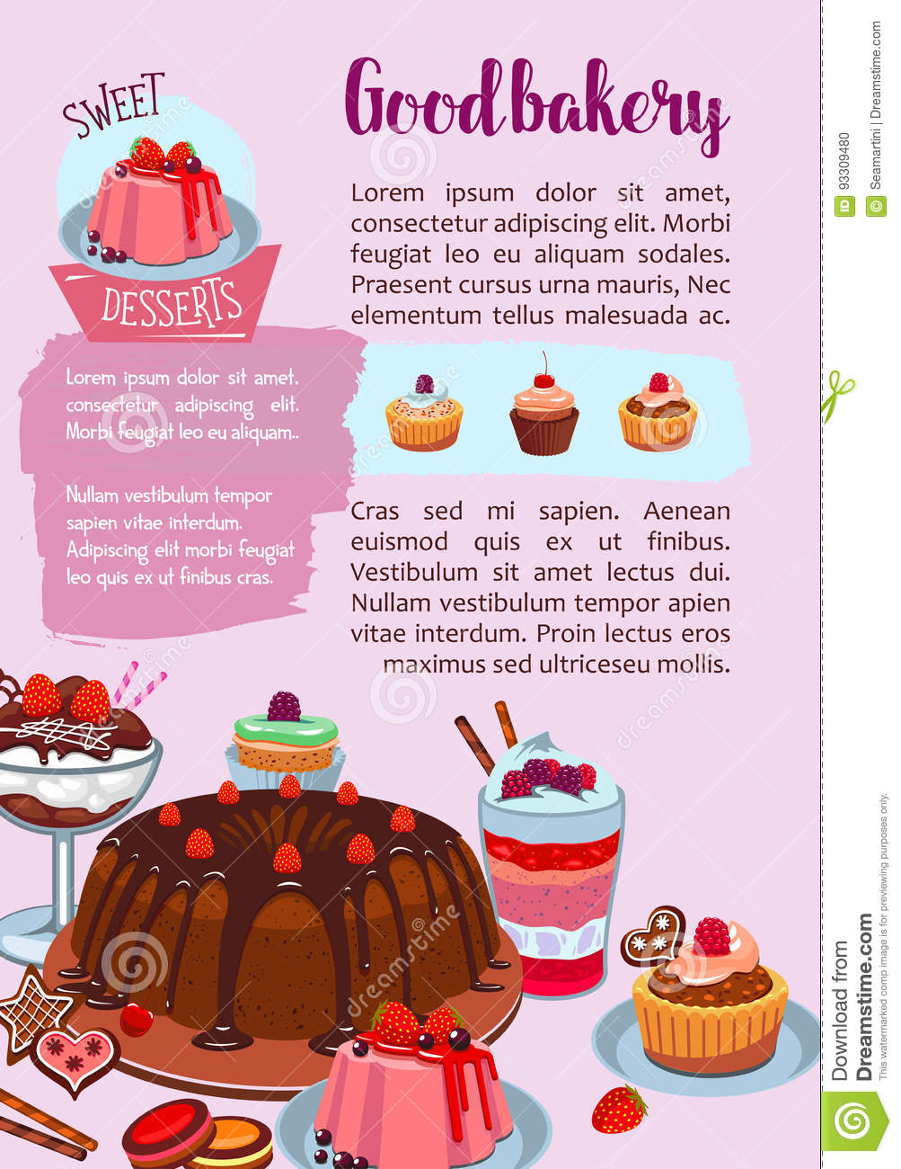 Vector Poster For Bakery Shop Pastry Desserts Stock Vector Image