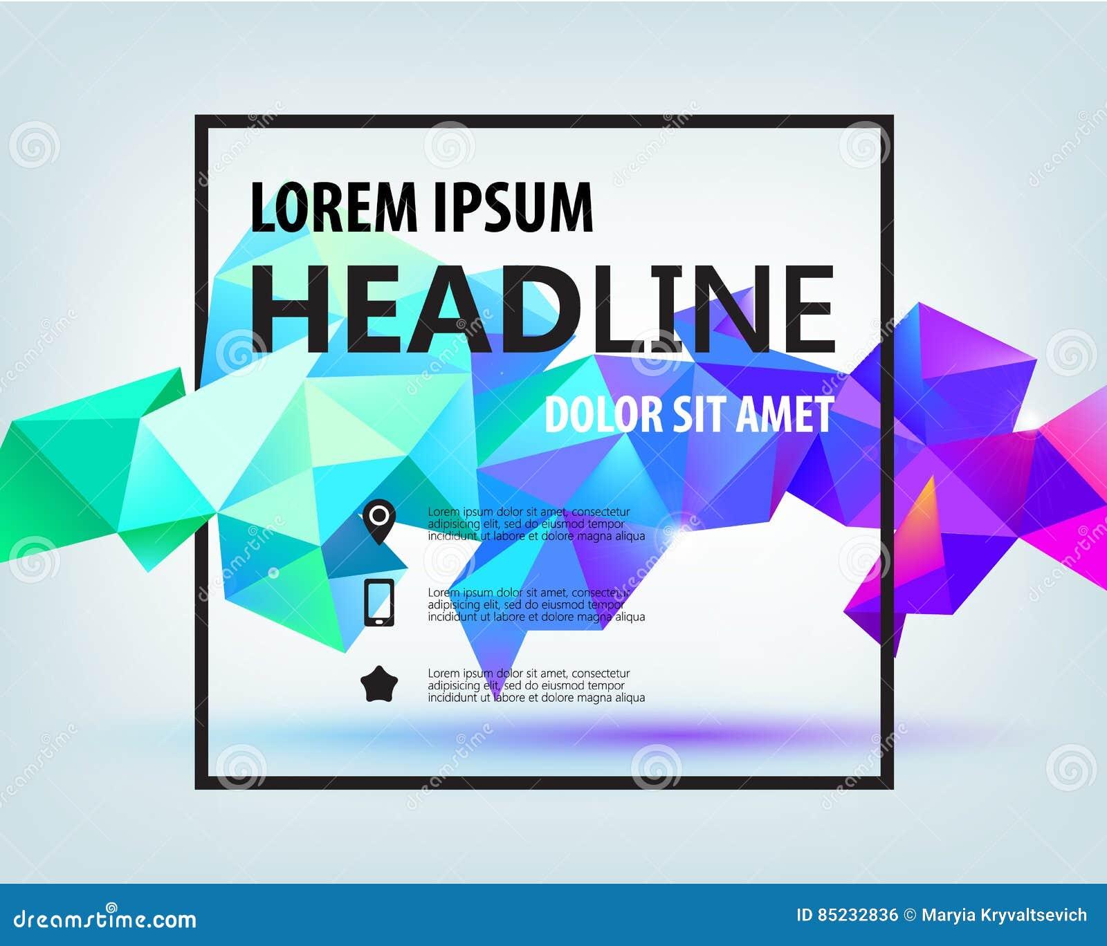 Poster design 3d - Vector Poster Banner Flyer Cover Brochure Template Design Modern Crystal 3d Shape