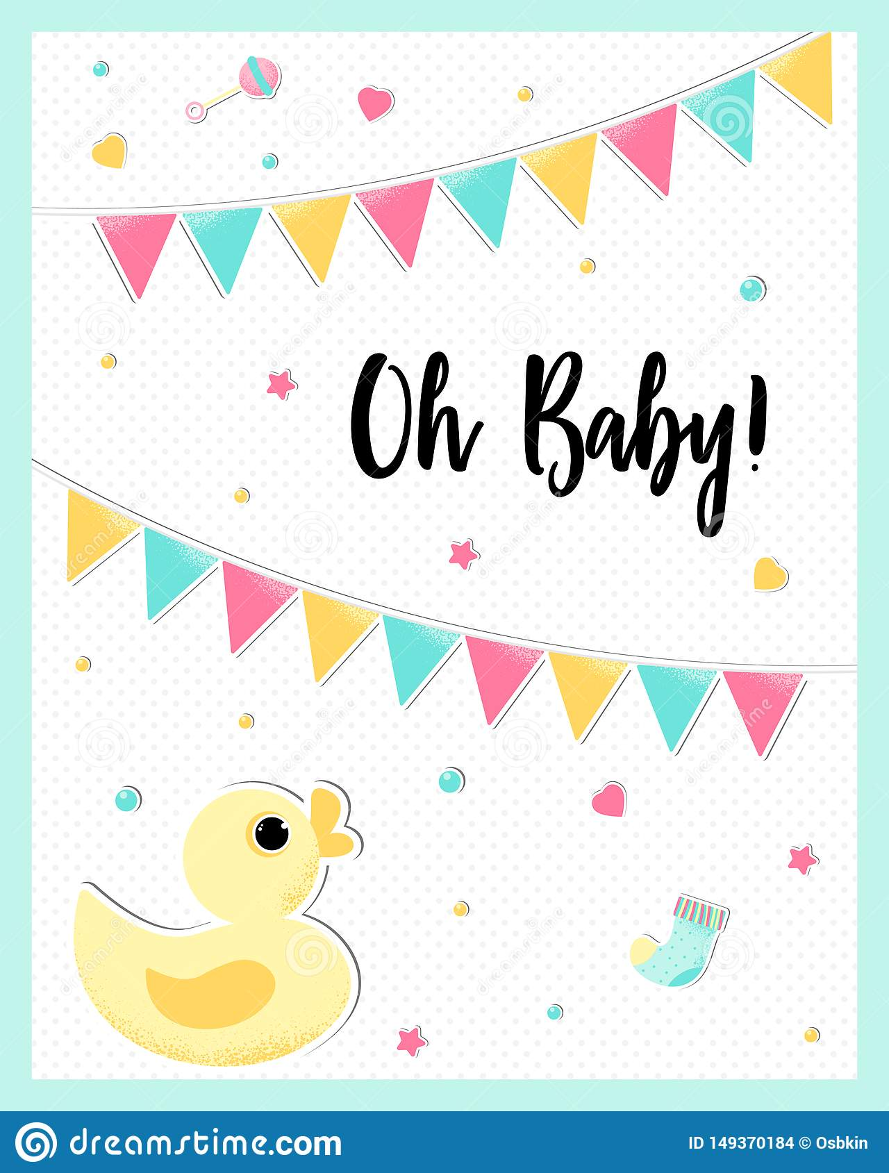 Vector poster of a cute baby duck.