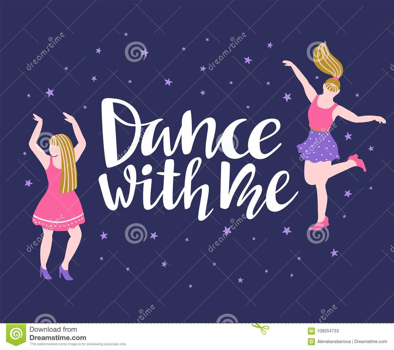 Vector poster with dancing girls party invitation dance banner download vector poster with dancing girls party invitation dance banner design with lettering stopboris Gallery