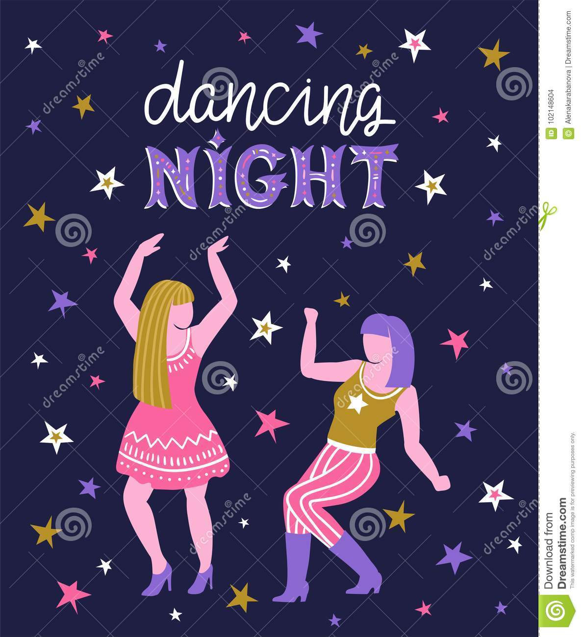 Vector Poster With Dancing Girls Party Invitation Or Dance Banner Design With Text Stock Vector Illustration Of Design Background 102148604