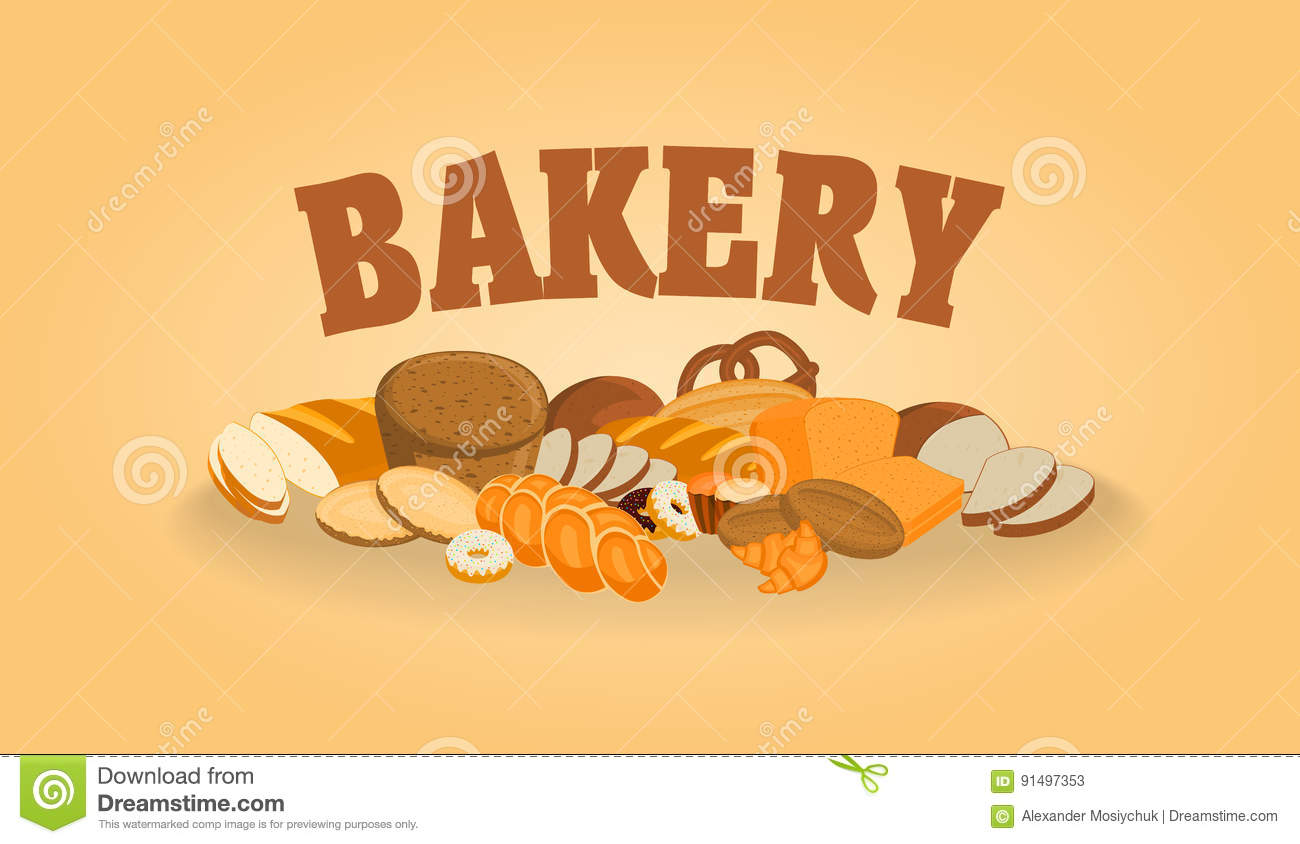 vector poster design template with bakery shop products